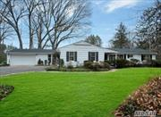 Ranch On 2.47 Private Wooded Acres. Spacious Open Flow Offers 5 Bedrooms, 3 Baths, Lr, Formal Dr, Eik, Family Rm & Den,  2 Fireplaces. Private Flat Backyard With Large Patio. 3 Car Garage, Located Close To Lirr, Shopping, Restaurants And Beach.