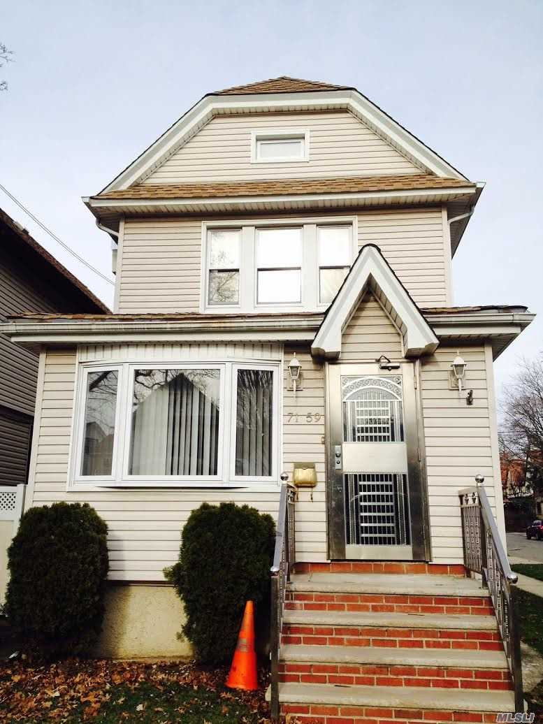 Renovated 1 Dwelling 1st Fl Features Large Living Rm, Dining, New Eat In Kitchen, Ss Appliances, Granite Counter Tops And Full Modern Bath. Upstairs 3 Bedrooms & New Bath. Finished Bsmt With Large Room, 1/2 Bath, Laundry + Storage. Nice Yard 2 Car Garage. Convenience To Lirr, E, F, M & R Trains.