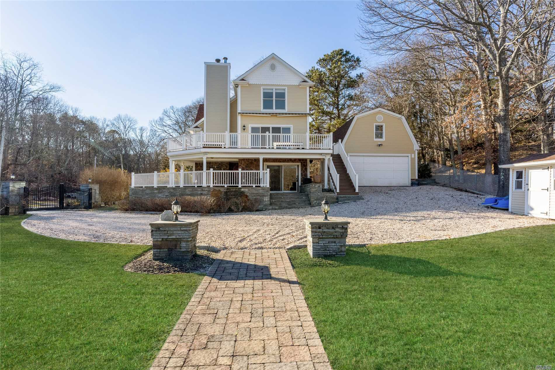 Spectacular Water Views From This Totally Renovated Country Home Featuring Open Layout, Master Bedroom Suite, 2 Guest Bedrooms, Gourmet Kitchen, Plenty Of Outdoor Entertaining Spaces, Deep Water Dock That Can Hold Several Boats, And 2 Car Garage.