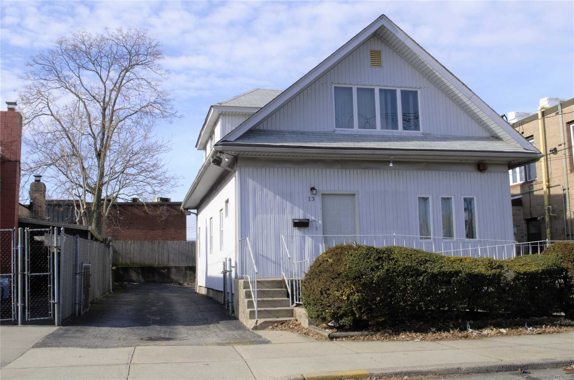 Mix Use Building. First Floor: Former Dentist Office With 1000 Square/Feet Of Space. Or An Office In General W/Cac 1st Fl. Only. & Full Unfinished Basement And It's Own Separate Entrance. Parking For 4/5 Cars And Additional Municipal Parking Across The Street. First Floor Has A Handicap Access. Full Bath. Second Floor: Living Rm. Eat In Kitchen. 2 Bedrooms. Full Bath. + Attic... 2 Boilers. 1 Hot W. Heater. It Could Be Converted Back To 2 Fam House W/Proper Permits. Close To All.