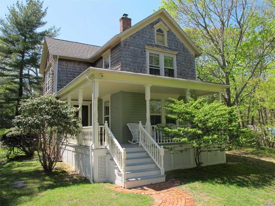 Amazing park-like property set on 1.25 acres. Restored authentic farmhouse & a one bedroom cottage. Beautiful outdoor entertaining spaces including farmers porch, patios, heated pool and landscaping. The home can accommodate large groups w/ its spacious bedrooms & cottage. Recent Updates: Heated IG Pool, Wood Floors, Roof, Appliances, Windows, Two Gas Fireplaces, Central AC, Patios, Fenced 1.25 Acres. Close to Breakwater Beach, shops, wineries and Peconic Bay.