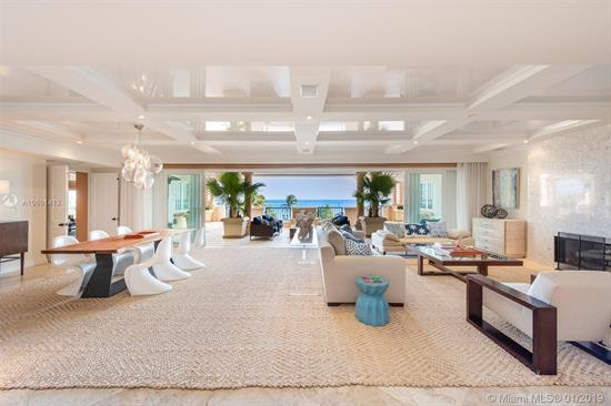 This Contemporary Oceanside Corner Unit Sits As The Coveted Tip Of Fisher Island W/Unobstructed Sunrise Views To Government Cut, Ocean, Beach & Miami Beach. The 5Br/6+2Ba Unit Boasts 6, 820 Sf Of Interior Space W/Beautiful Travertine Marble Floors, Open Dining & Living Room Layout W/A Fireplace & Walls Of Glass That Open To Endless Ocean Views. The Gourmet Kitchen Sports Top Of The Line Appliances & A Separate Breakfast Area & The Large Family/Media Room Is Ideal For Relaxing & Entertaining. The Oceanside Master Suite Is Amazing W/Direct Ocean Views, Separate His & Her Master Baths Each W/Voluminous Walk-In Closets. The Other 4 Bedrooms Each W/En-Suite Baths. Watch The Parade Of Cruise Ships From Your Expansive Wraparound Terrace W/Multiple Seating Areas To Relax & Enjoy The Ocean Views.