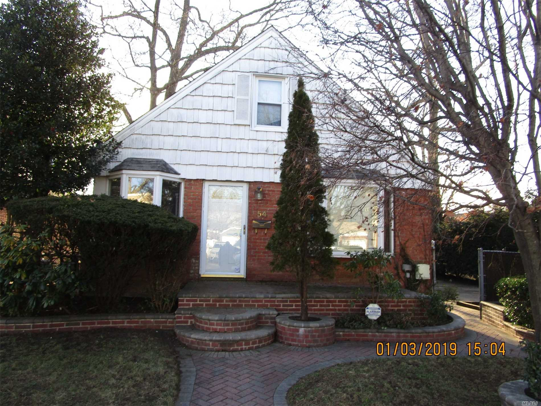 Nice Brick Cape With Great Potential. Great Residential Location, Close To All Our Needs, Shopping, Schools, Mass Transit And Just A Minutes To All Major Parkways. Nice Corner Property With Driveway And Room For A Garage If Wanted.