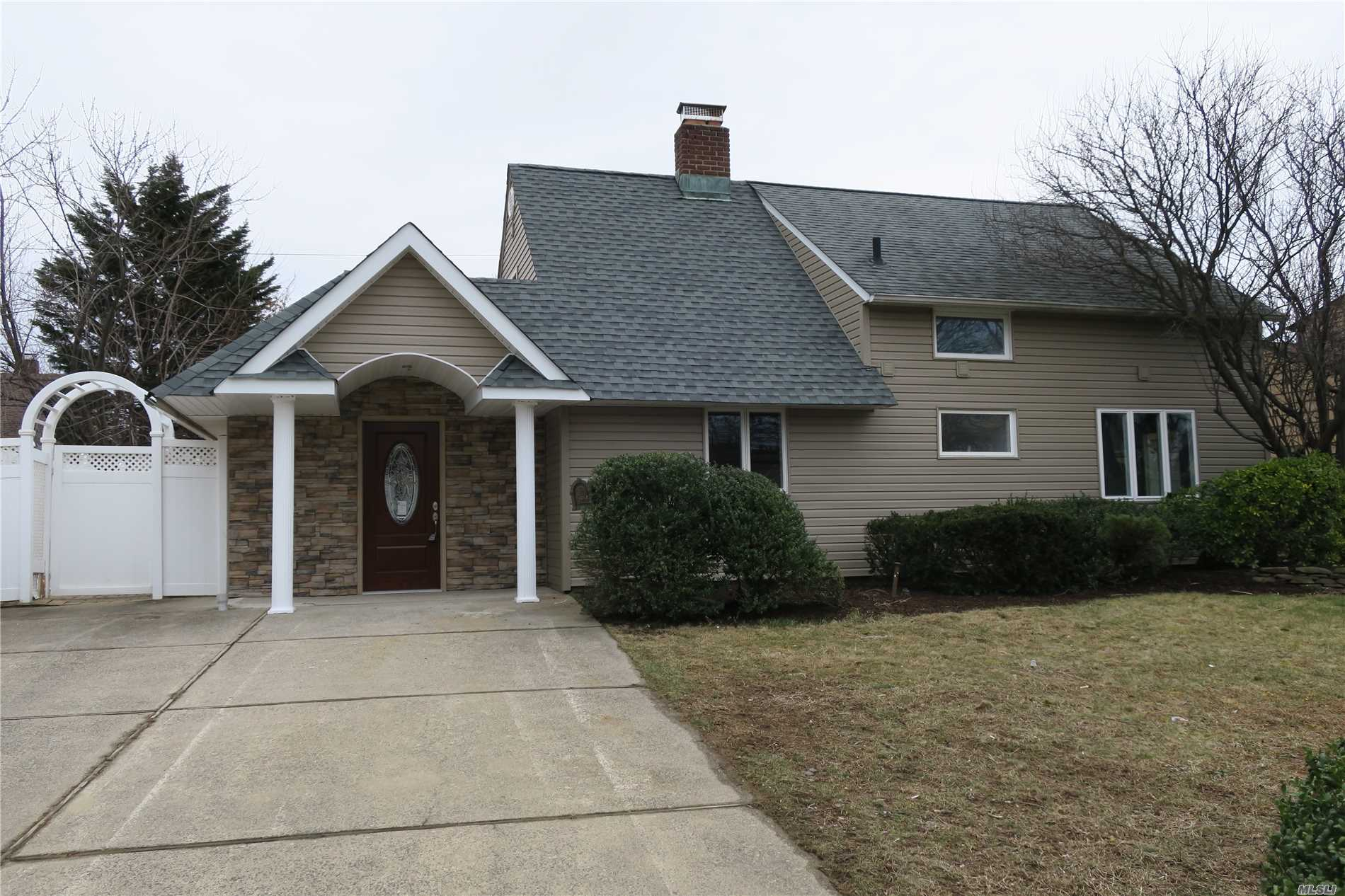 Total Renovated 1680 Sq. Ft. 4 Bedroom 2 Bathrooms, All New Roof, Siding, Windows, Heat, Kitchen, Bathrooms, Porcelain Floors, Electric And Plumbing. Kitchen W/Quartz Counter Countertops, S/S Appliances, Farm Sink, Stacked Stone Fireplace, Master Bedroom On First Floor Vaulted With Walk In Closet. Extra Large Fenced In Backyard, Covered Patio, Island Tree Schools, Taxes Do Not Reflect Star Savings Of $1689.