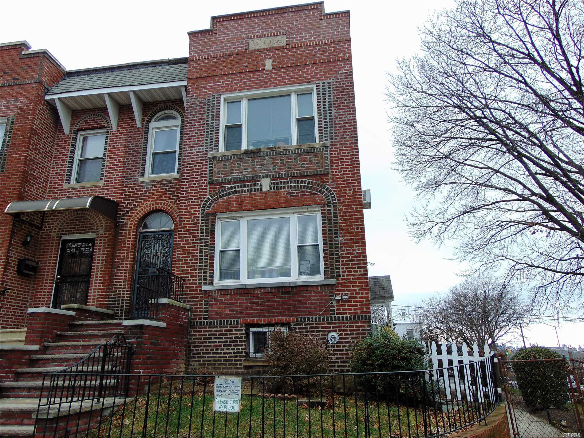Owner Occupied, Gorgeous 2.5 Well Maintained Two Family Corner Home With Two Car Garage, Pvt Driveway & A Beautiful Yard In The Best Area Of East Elmhurst. Finished Basement Possible For 2 Separate Studios. 1st Fl-2 B/R Full Bath/Kitchen/Formal Dining/Living Room, Possible For 3rd B/R. 2nd Fl-3 B/R /Full Bath/Kitchen/Formal Dining/Living Room, Possible For 4th Bedroom. 3rd Fl-Huge Bedroom W/Beautiful Views Of Manhattan. Side Entrance To All Floors. Chandeliers Will Be Replaced W/Std Lights.