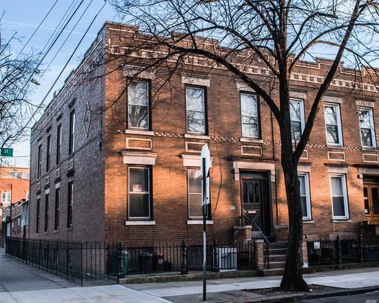 Great Investment! Corner Property 2 Family Brick, 6 Rooms Over 5, Full Basement, 2 Car Garage, 5 Blocks To L Train (Dekalb Ave Stop)