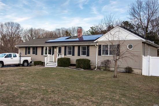 Don't Miss Out On This Beautiful Expanded Ranch. Features Beautiful New Kitchen W/Granite & Stainless Steel Appliances. New Bathroom, Hardwood Floors, Living Room W/Fireplace, Cac, Imported Italian Tile In Bath & In Master Bedroom. On Demand Water Heater. New Roof - Rafters. Solar Panels Leased.