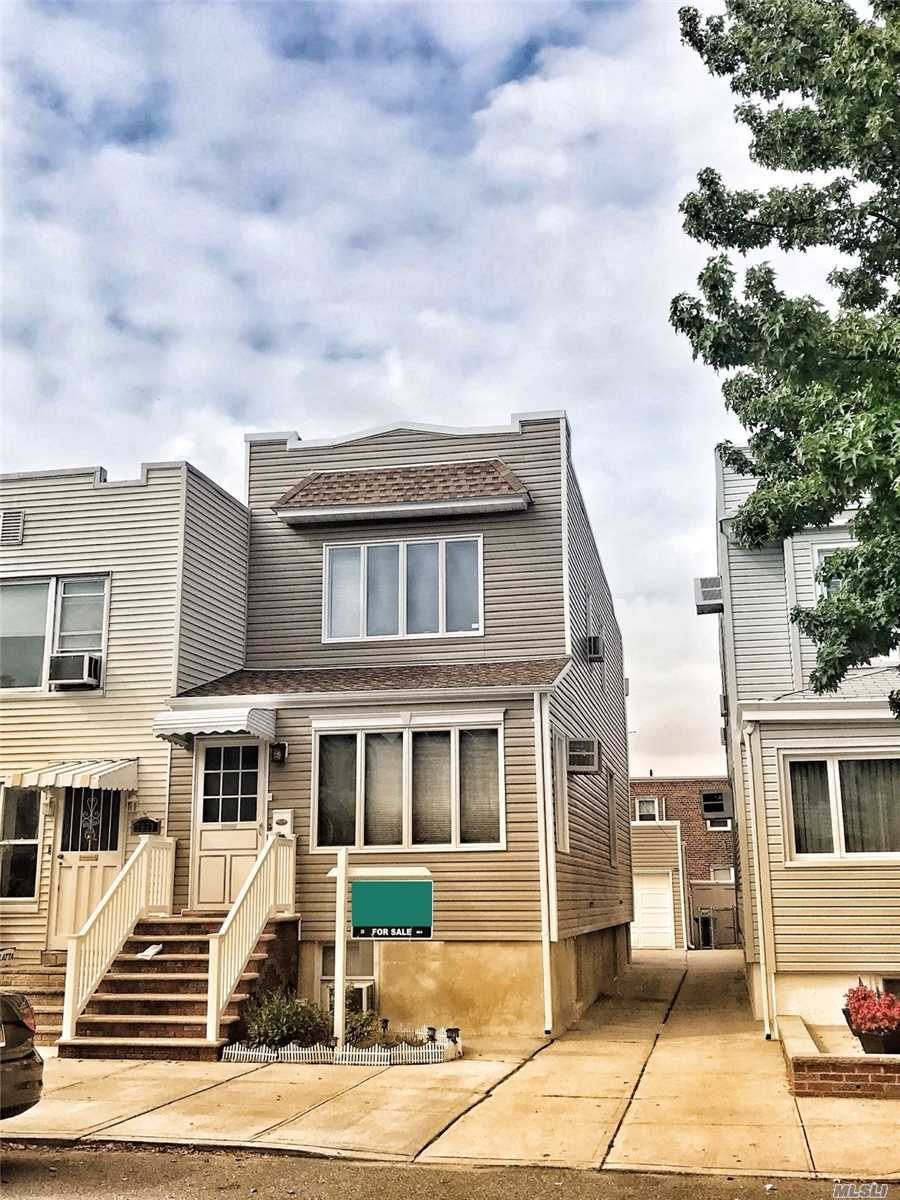 This Marvelous One-Family Home Is Priced To Sell! This Home Is 50' Long, Has Three Bedrooms (Two Master Sized), A Bathroom On Each Floor, And 10' High Ceilings In The Basement! There Is Also A Detached One Car Garage And A Rear Deck! Genuinely Must See To Believe