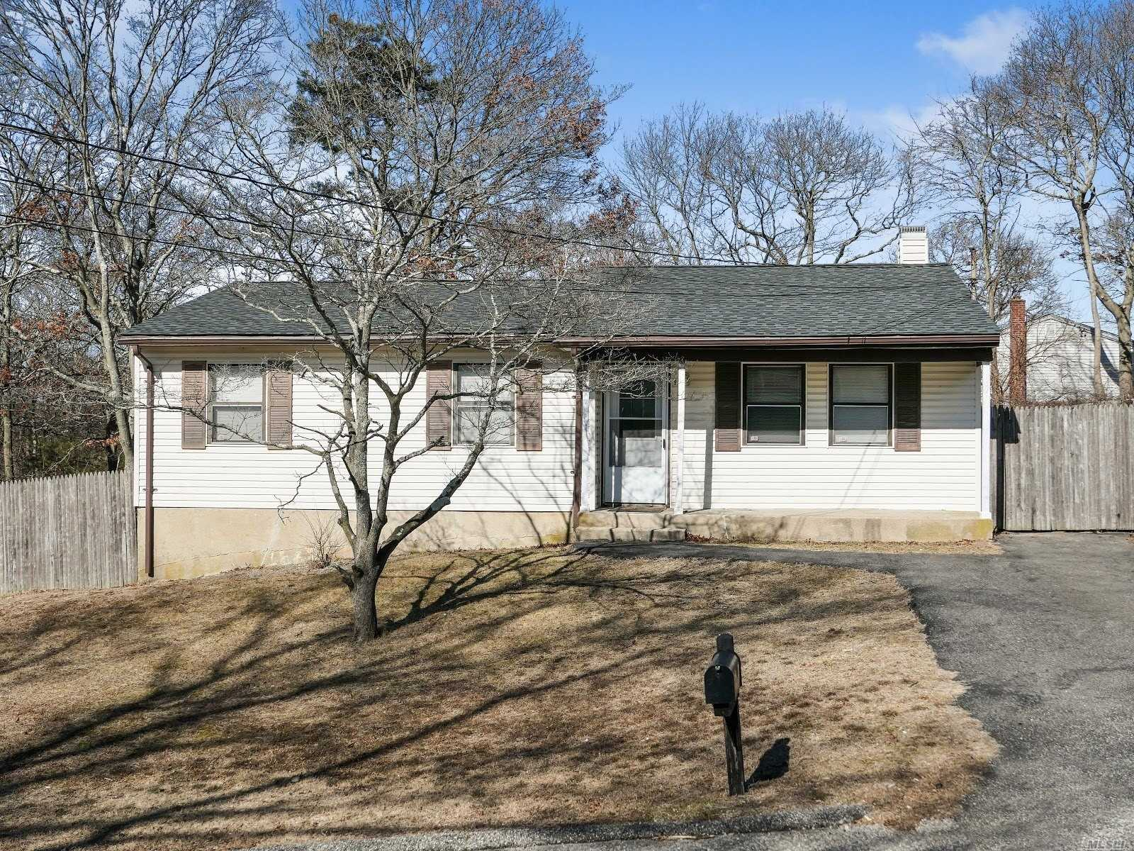 Great 3 Bedroom, One Bathroom Home With Large Livingroom And Nice Yard. Close To Lirr, Shopping, Beaches And Wertheim National Wildlife Refuge. Easy Show