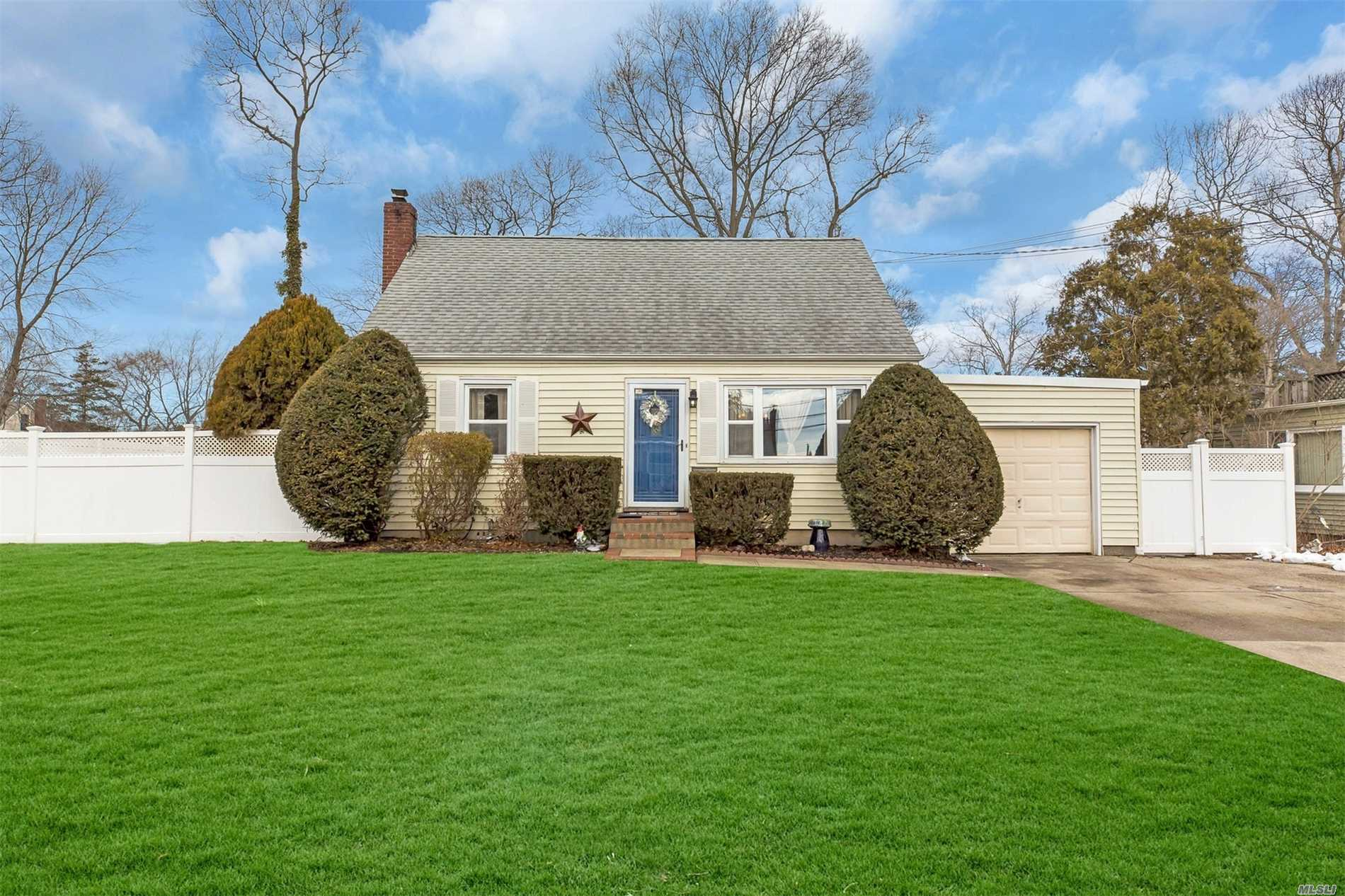 Storybook Cape In Sayville School District.Open Floor Plan, Newly Renovated Custom Kitchen With Ss Appliances And Granite Counters, New Bath , Updated Roof, Heating & Windows. Walk To Elementary School Low Low Taxes