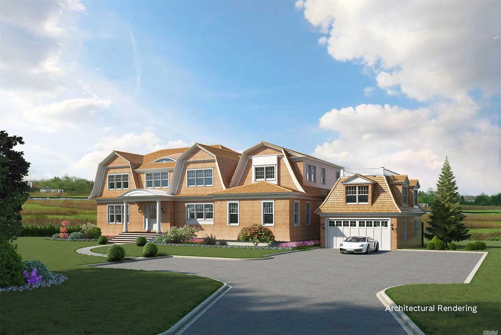 New Construction. Exceptionally Design 6, 100 Sq Ft Home Features Both Grand And Casual Living Spaces. A Prime Location In The Village Of Quogue With Water And Rolling Meadow Views. Spacious Open Plan, Chefs Kitchen, Living Room With F/P. On Suite Guest Room. Bar/Lounge Area With 16Ft Retractable Nano Glass Wall. Master Bedroom With Private Deck, 3 Additional En Suite Bedrooms. Upper Deck Lounge Area. Breeze Way Connecting Detached Garage With Bonus Room And 1/2 Bath. Gunite Pool With Spa.