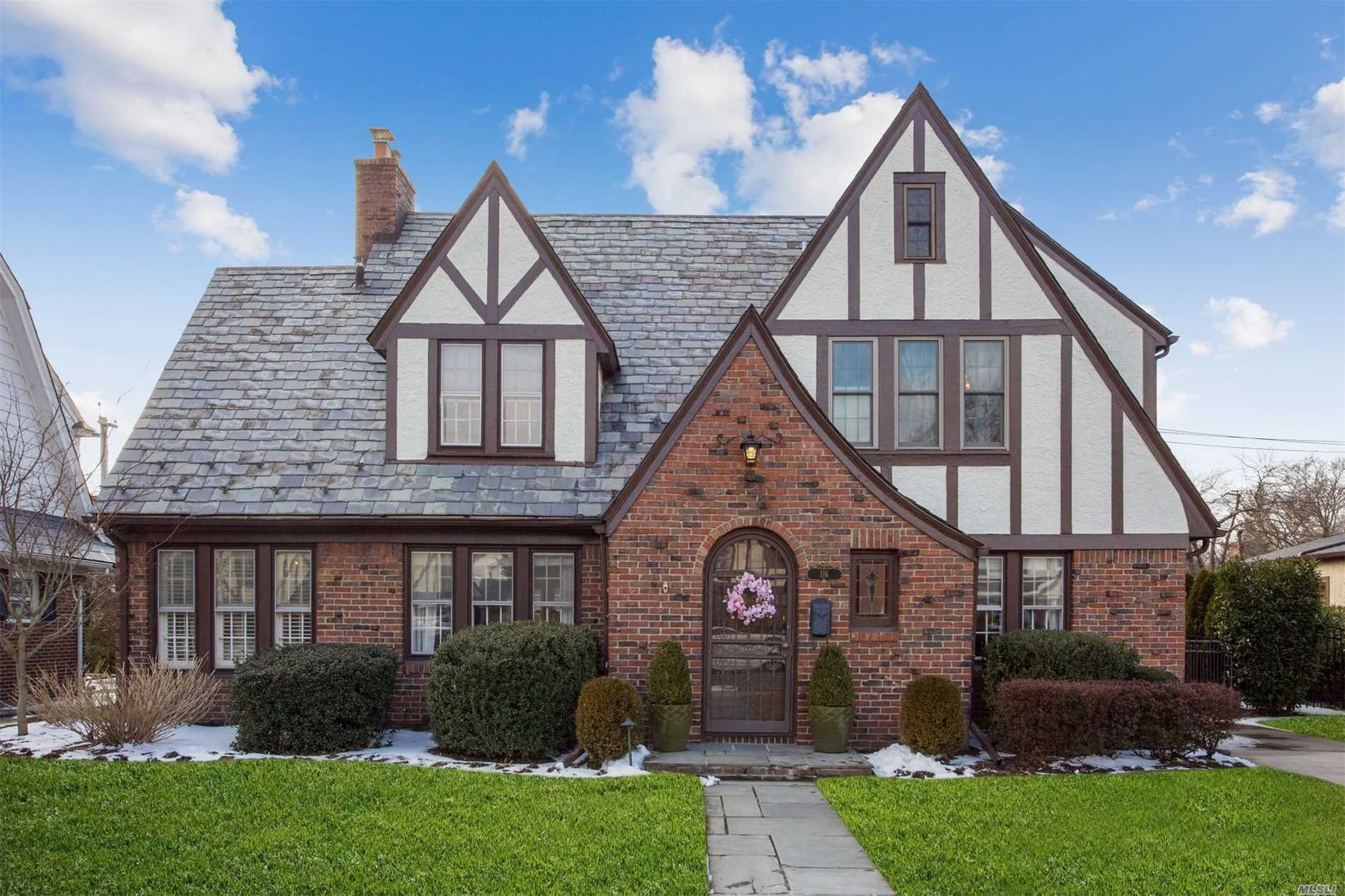 Classic Estates True Ch Brick Tudor W/Slate Roof Offers Great Curb Appeal, Layout, Architectural Interest And A Fabulous New White/Stainless/Caesarstone Quartz Cook's Kitchen With Island. Visual Connection To All Principal Rooms On The 1st Fl. Facing East, This Warm And Inviting House W/ Abundant Windows Is Sun-Drenched All Day. Mid-Block Location In A True Neighborhood Walkable To 3 Lirr Trains And Homestead And Stratford Schools.