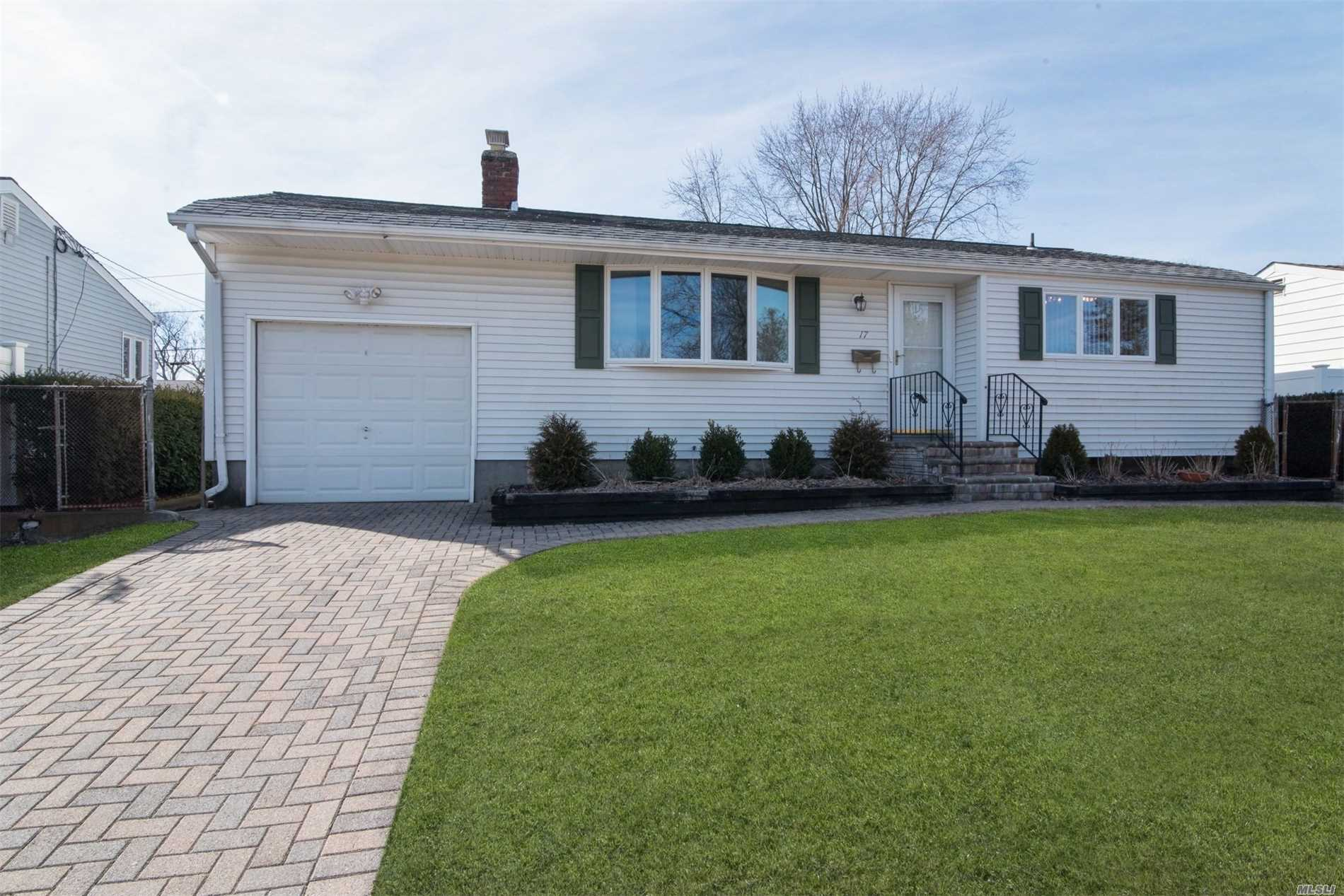Sparkling Clean 3 Bedroom Ranch, W/ Paver Driveway, Walkway & Stoop. Updated Windows, Hot Water Heater & Heating System,  In-Ground Sprinklers And Alarm System. Tree Lined Street With Side Walks Located In Commack's Blue Ribbon School District. Close To Shopping, Restaurants And Houses Of Worship. Enjoy The Summer Days On The Covered Patio!