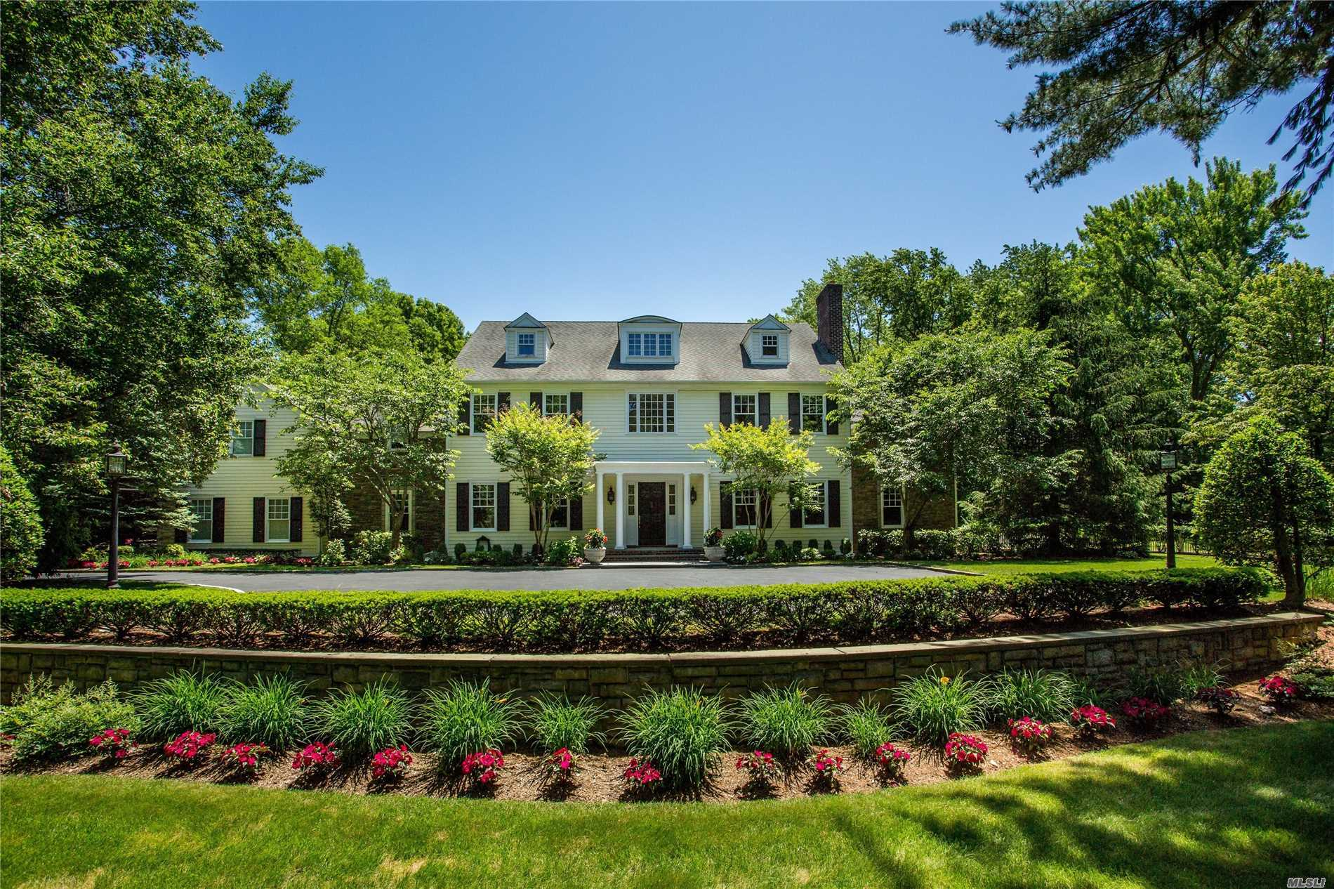 Gated Entry Leads To This Classic Colonial Set On 2.78 Acres Of Lawn, Gardens, Tennis Court, Putting Green, Sparkling Pool & Terrace. Traditional Layout Has Lovely Entertaining Rooms. Living Room W/Fp, Beautiful Library/Office Has Custom Built Ins, Fdr, Fantastic Chef's Eik With High End Appliances That Opens To Wonderful Family Room W/ Fp. Luxurious Master Suite Has Fp & 2 Walk In Closets. Home Theater, Gym, Generator. Amazing Residence For Inside And Outdoor Entertaining! This Home Has It All!