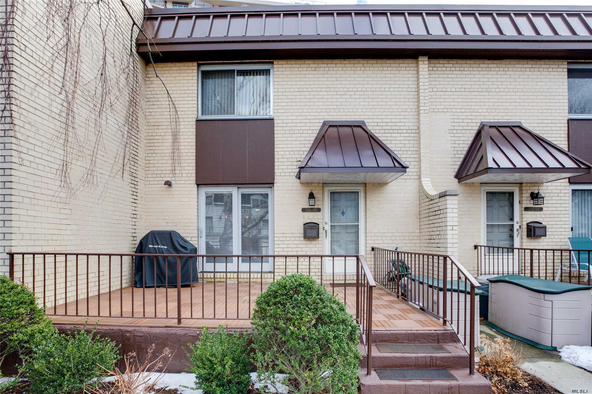 Desirable & Rare Americana Triplex In Bayside. 3 Br, 2 1/2 Bath. Designer Showplace W/ Chef's Kitchen, S.S. Kitchen Aid Appl., Dbl. Oven, Stove Top Grill, Bar Sink, Heated Porcelain Tile Floor & Pella Sliding Doors. Full Fin. Bsmt W/ Laundry, Custom Closets & Built Ins Throughout. Front Patio W/ Custom Gas Installed Bbq. 24 Hr. Doorman/Concierge, Alarm Central Station, Pool, Gym, Tennis & Shopping Arcade. Dog Friendly! Base Maintenance $2, 171.82+Elect. $181.48+Amversev $100=$2, 453.30.
