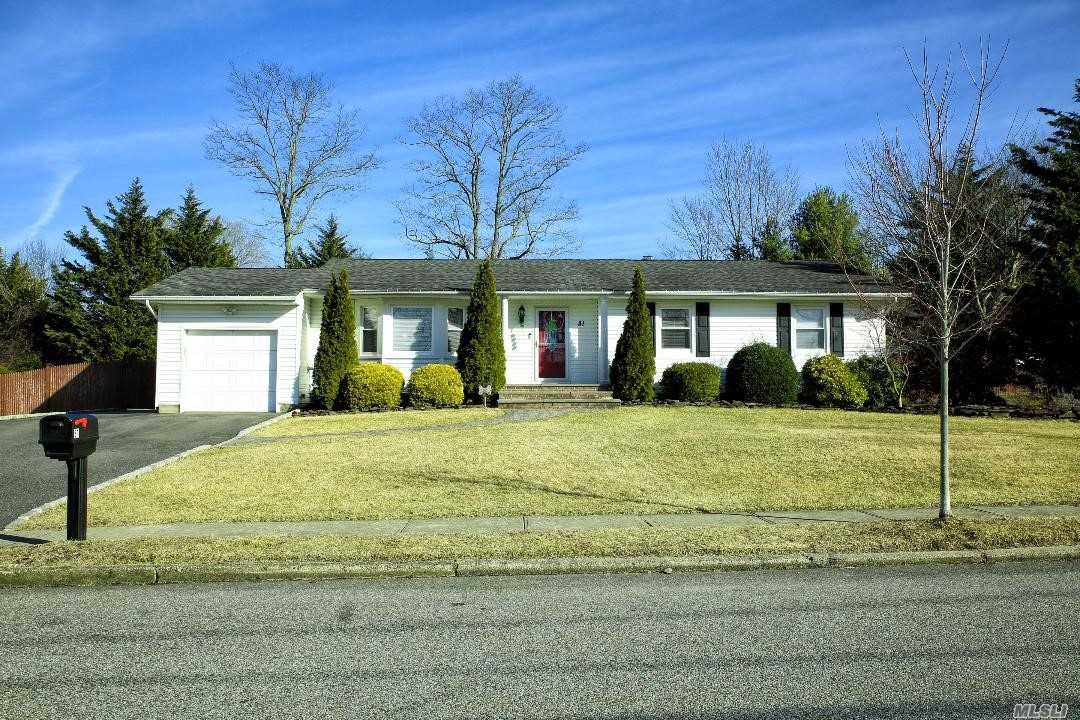 Location, Location, Location. This Ranch Has It All!! Located In The Desirable Hauppauge School District On A Shy 1/2 Acre. This Is One Level Living At It's Finest!! Completely Updated Ranch! Kitchen With Stainless Steel Appliances And Breakfast Nook, 2 New Bathrooms, Den With Fireplace, Livingroom With Pellet Stove, Hardwood Floors, Large Finished Basement With Den, Gym/Office & Full Bath!! Sun Filled House With A Peaceful & Serene Backyard!! This Is The Perfect Place To Call Home!!!