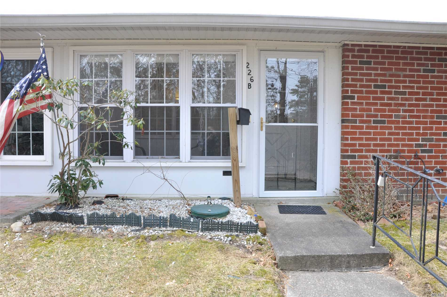 Clean & Bright 1 Bedroom/1 Bath Eton Model Unit in 55+ Leisure Village in Ridge! Enclosed Sun Porch Overlooking Wooded Area, Living Room, Dining Area, Large Master, Plenty of Storage, Laundry in Unit. Updated CAC, Windows & Hot Water Heater! Enjoy all Leisure Village has to offer!