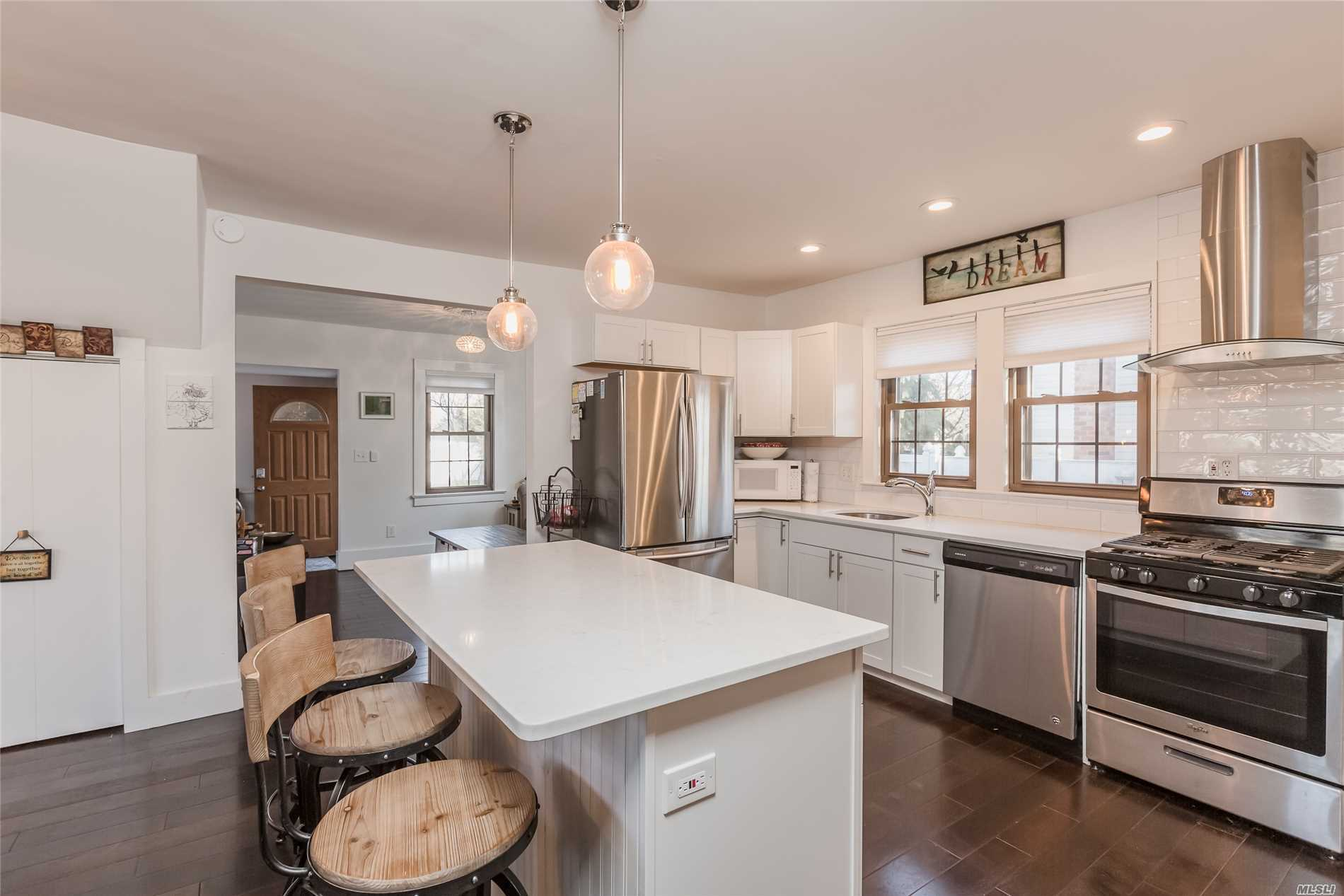Move In Ready Recently Remodeled Beautiful Home In Northport-Enpt Sd!! Low Taxes Only $4228.88 W/Basic Star. Entry Leads To Airy Floor Plan W/Hardwood Flooring. Eik W/White Shaker Cabs, Ss Appl, Island & Quartz Countertops!! Stunning Bathrooms-Unwind In Marble Bath W/Glass Of Wine While Soaking In Your Claw Foot Tub! Ductless Air Conditioner. Det Oversized 2 Car Garage W/80 Amp Electric/220V &Storage Above! Low Maintenance Living Close To Npt Village, Restaurants, Beaches, Marina, Train, Parkways