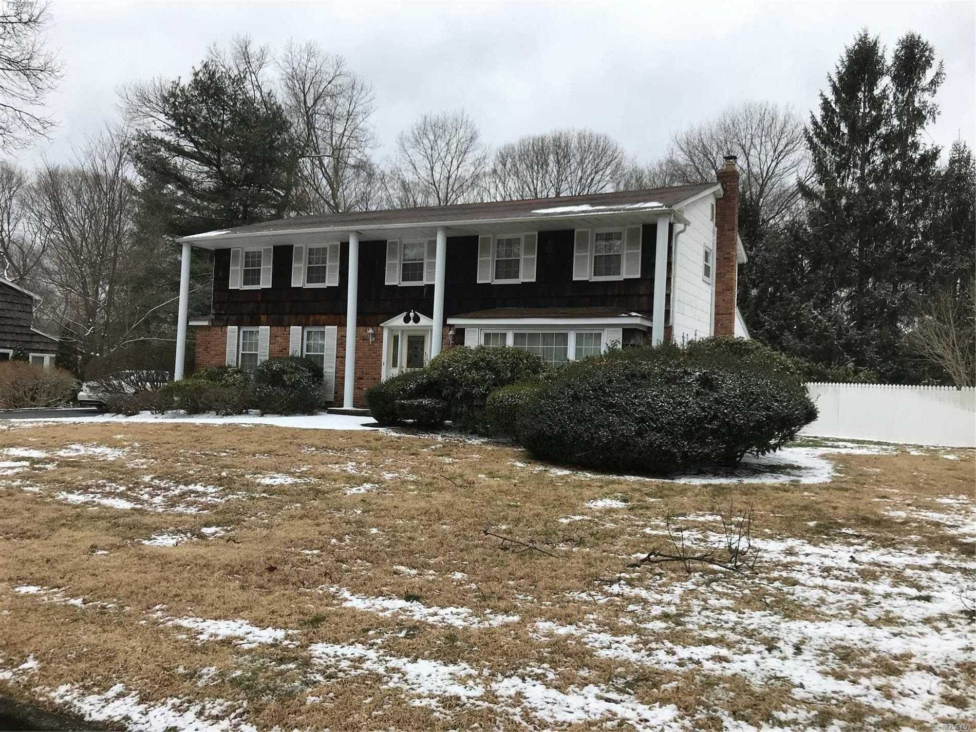 Large 4 Bedroom Brookvale Colonial, Features Newish Boiler, 200 Amp Electric Service, New Hot Water Heater. Formal Living Rm W/Frpl, Formal Dining Rm, Eik, Laundry Room, 2.5 Bath. Large Flat Property Is Fenced In. In The Village Of Lake Grove, Will Go Fast