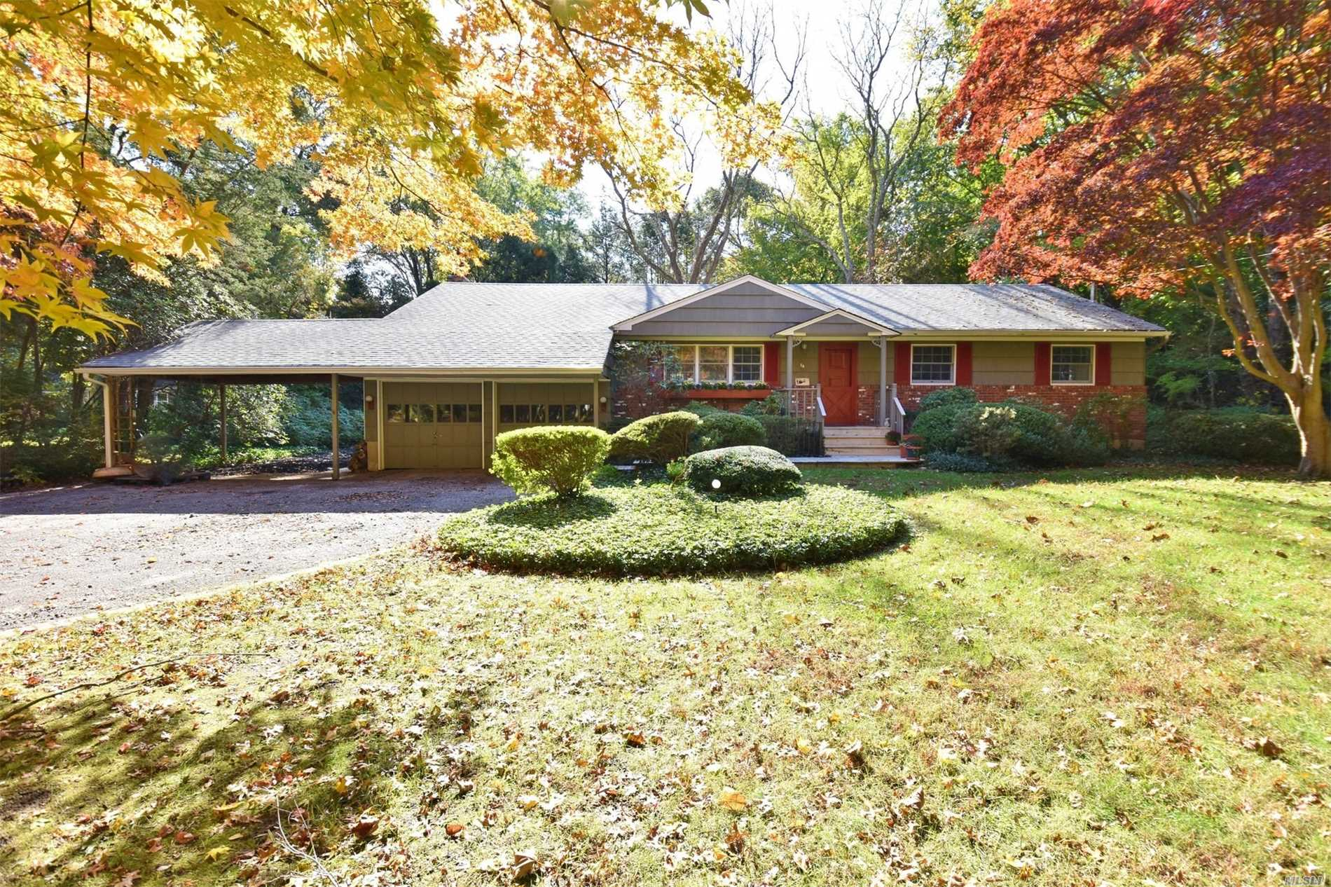 Incredible Opportunity In Half Hollow School District For A Charming Ranch On A Beautiful Acre Of Flat Treed, Parklike Property With Mature Perennial Gardens. Hardwood Floors, Den With Fireplace, Freshly Painted. Plenty Of Room To Expand And Make Your Own! Two Car Garage Full Basement. Taxes Being Grieved!!