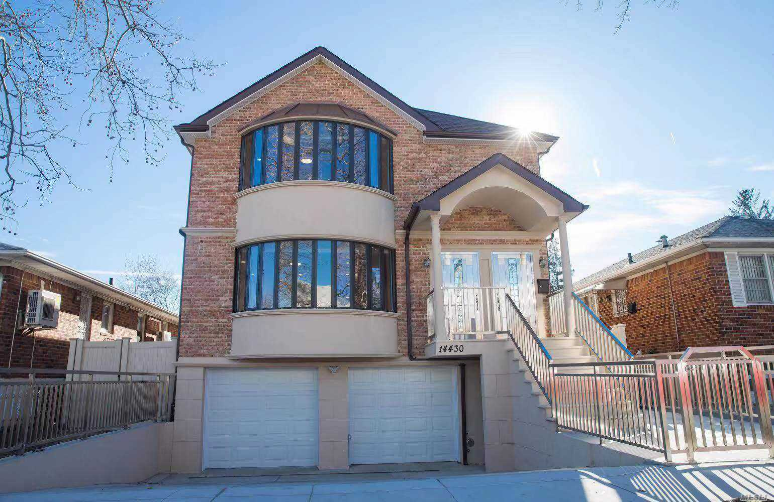 New brick construction built in 2018, Custom luxury legal two Dwelling in beautiful North Flushing, bright spacious rms, each floor size 1432x3, total 8bedrooms & 5full bathrooms & 2modern kits, high ceilings, 2cars garage, full finished bsmt W/sep entrances front & back.one block from 2 Supermarkets, Tennis Football courts, close to shopping centers, BJ and all.close to 7 train, one block to bus stops No44, No20 & No16, 2mins drive to highways (LIE and cross island PKWY).