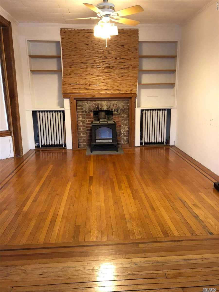Sunny and Bright Large First floor, Entry Foyer with Closets, Very Large Living Rm/Dining Rm Combo, Spacious Eat in Kitchen, 3 Bedrooms and 1 Full Bath. Master Bedroom and Living Room have Ductless CAC. Nice Backyard and Patio for Entertaining. Parking on the Street.