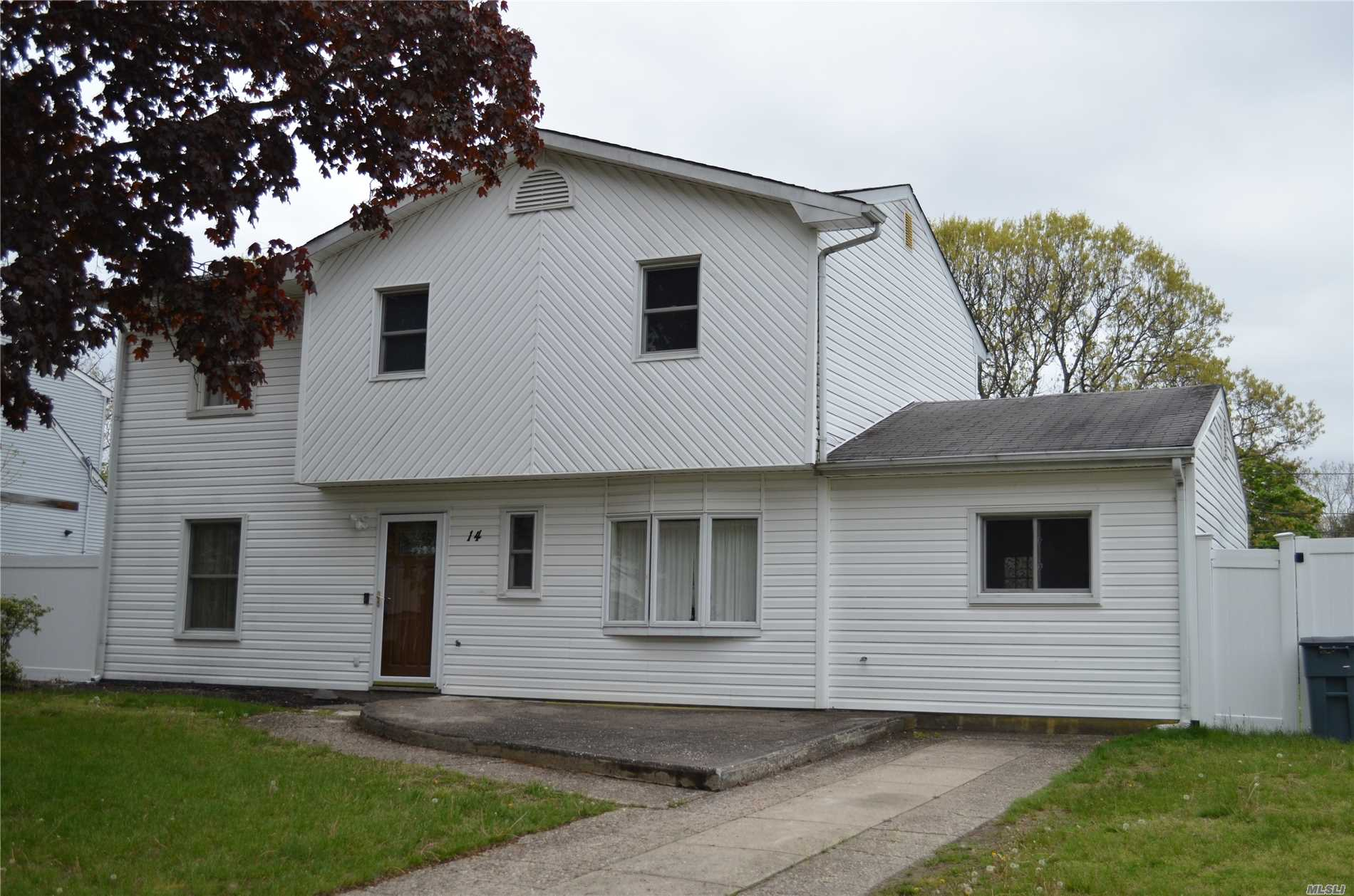 Spacious 3 to 4 Bedroom, 1.5 Bath Splanch Colonial. New Heating System, New Hot Water Heater, New Siding and Front PVC Fence, Updated Bath, Upgraded Panel and New High Hats, Some New Wood-Like Flooring, In-Ground Pool