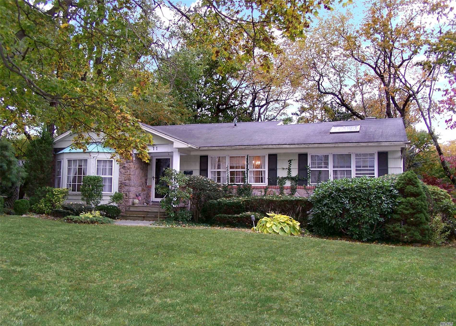 Lovely Ranch In Famed Flower Hill Section Of Desirable Port Washington!!! Unlimitied Possibilites To Make Your Own Or To Build!! Eat In Kitchen, Formal Dining Rm, W/Large Living Rm, Den W/Fireplace, Master Suite W/Full Bath, 3 Additional Bedrooms & Full Bath. Walking Distance To North Hempstead Country Club & Golf Course! Close To Town, Hospital, Major Highways, Deluxe Shopping And Restaurants!!!