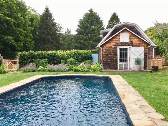 Beautifully appointed and charming Cedar 3 Bedroom, 2 Bath home with Guest Cottage and 2 additional bedrooms. Nestled on 3.8 estate like acres with inground pool and tennis.