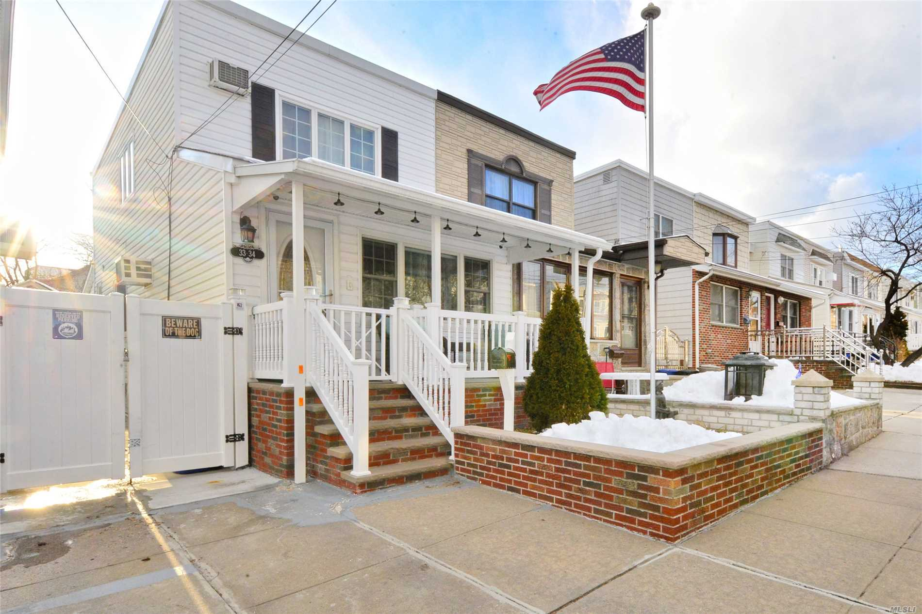Treasure Island SD 1 Fam Home In Bayside. Move right into this newly renovated warm home with exterior updates, new roof & a rare covered front porch to welcome peaceful mornings & quiet evenings. Upon entering, there's an open Sun-drenched living & dining room leading into a unique Legally-Extended Chef's Eat-in-Kitchen with spacious granite-countertop & Vaulted Ceilings. The second level was converted from 3 Bdrms into 2 spacious Bdrms. Skylights in hallway & renovated bathroom. SD#26