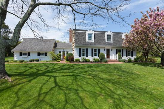 This is the best of the North Fork! Come home to this lovely Dutch Colonial located on a quiet cul-de-sac. Wonderful private garden w/ privets around your 20x40 ig heated swimming pool. This home welcomes you and your guests w/ 4 brs, 3 full baths, formal DR, LR, EIK, family room w/ fp, sunroom, and finished basement! Wood floors throughout, new windows, heater, furnace, new cac, and more! Founders landing district w/ potential for boat dock depending on lottery system, not guaranteed.