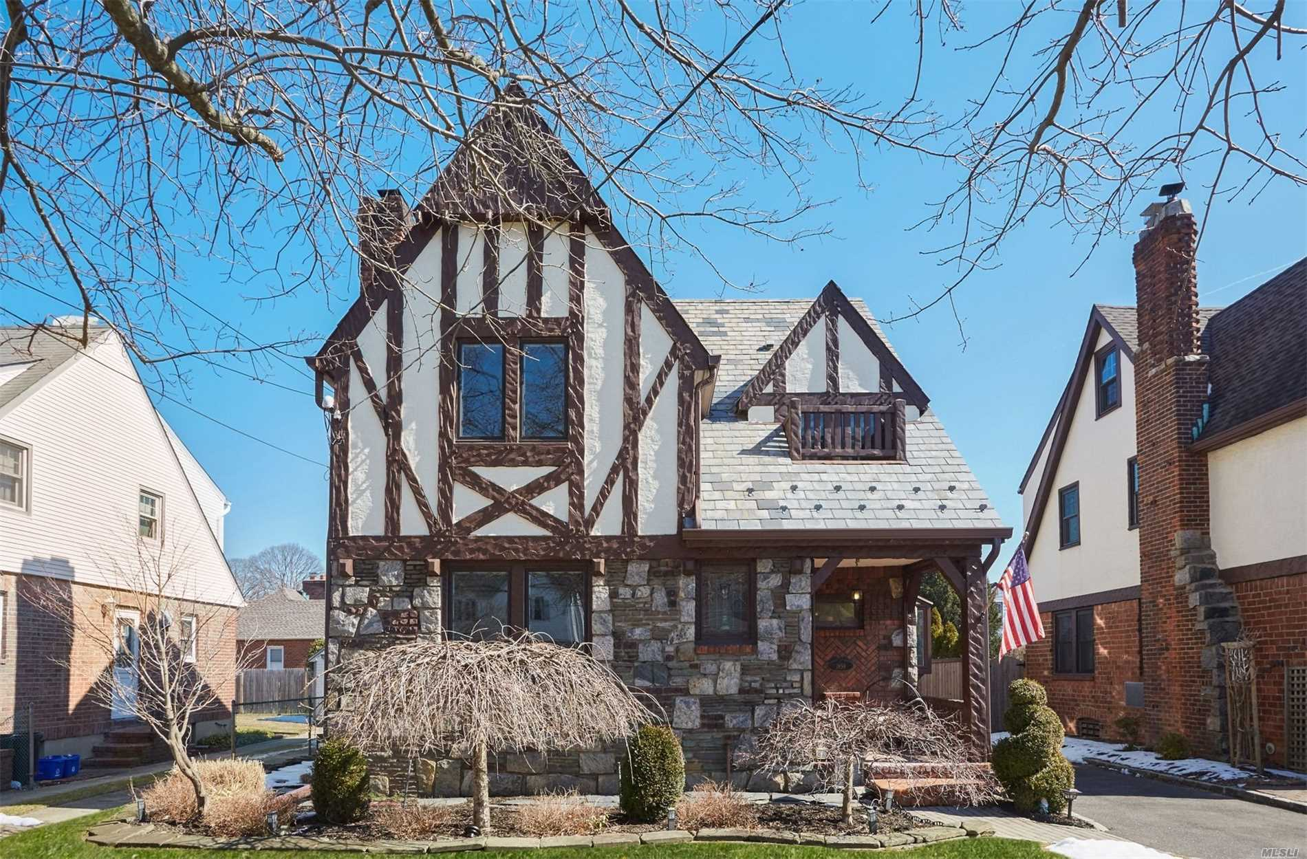 This Tudor Colonial Has Been Fully Reno'd. 1st Fl Boasts High Wood Beam Ceilings & Wood Burning Fireplace. Formal Dr Opens Into Fully Reno'd Eat-In Kitchen. Marble Counter Center Island W Drawer Microwave And Beverage Ctr Built In. Marble Tile Bath Off Kitchen, 2nd Floor Has Marble Full Bath & 3 Large Beds, Huge Finished Walk Up Attic, Office Wic, Ig Pool New Paver Yard