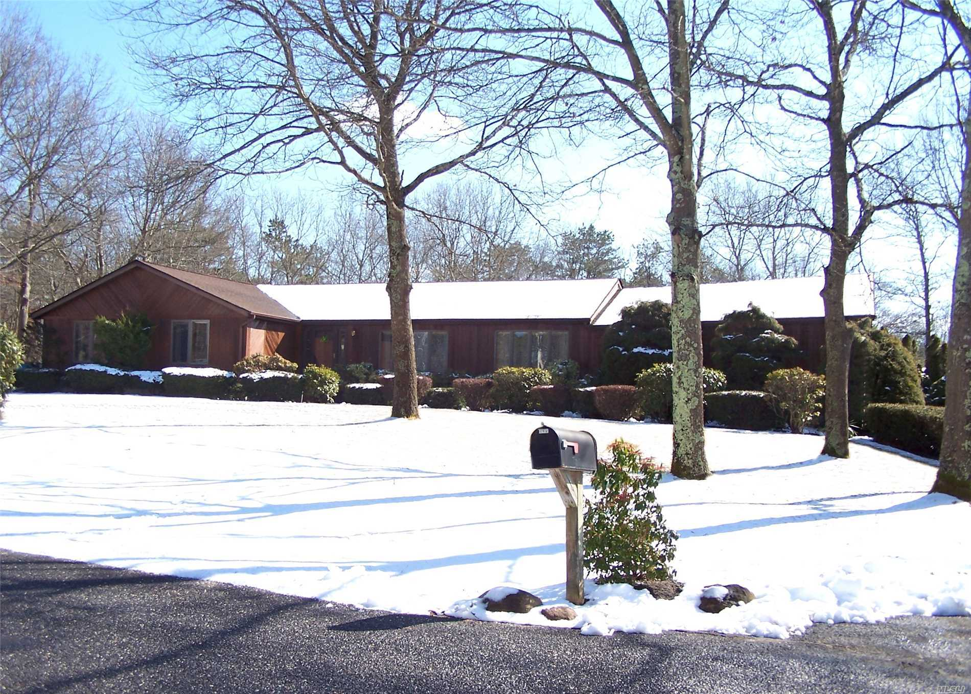 Meticulously Maintained Sprawling Ranch On Private/Dead End Rd On 1.26 Acres W/ Sparkling Hardwood Floors Throughout, Eik W/Center Island&Stainless Appliances Opens To Family Rm W/ Wood Burning Stove&Sliders To Huge Rear Paver Patio/Ig Pool/Fully Fenced Rear Yard, Spacious Master Suite W/ Dressing Rm&Full Bath, Formal Living Rm&Dining Rm W/ French Doors/Bay Windows, Huge Bsmt W/Heat/Ose, Cac, Igs, Shed, Attic Storage, Oversized Garage&Doors. Seconds To Sunrise Hwy. Center Moriches Schools.Hurry!