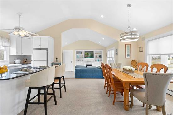 Exceptional Beachouse Getaway Delightfully Renovated Including Open Floor Plan, High Ceilings And Plenty Of Light, With Charming Family Room Leading To Outside Deck Perfect For Entertaining Including Outdoor Shower For After Long Days Relaxing On Your Private Beach Just Steps Away. Easy Commute From The City And Close To All The North & South Fork Have To Offer. Bring Your Bathing Suit & Towel And Move Right In!