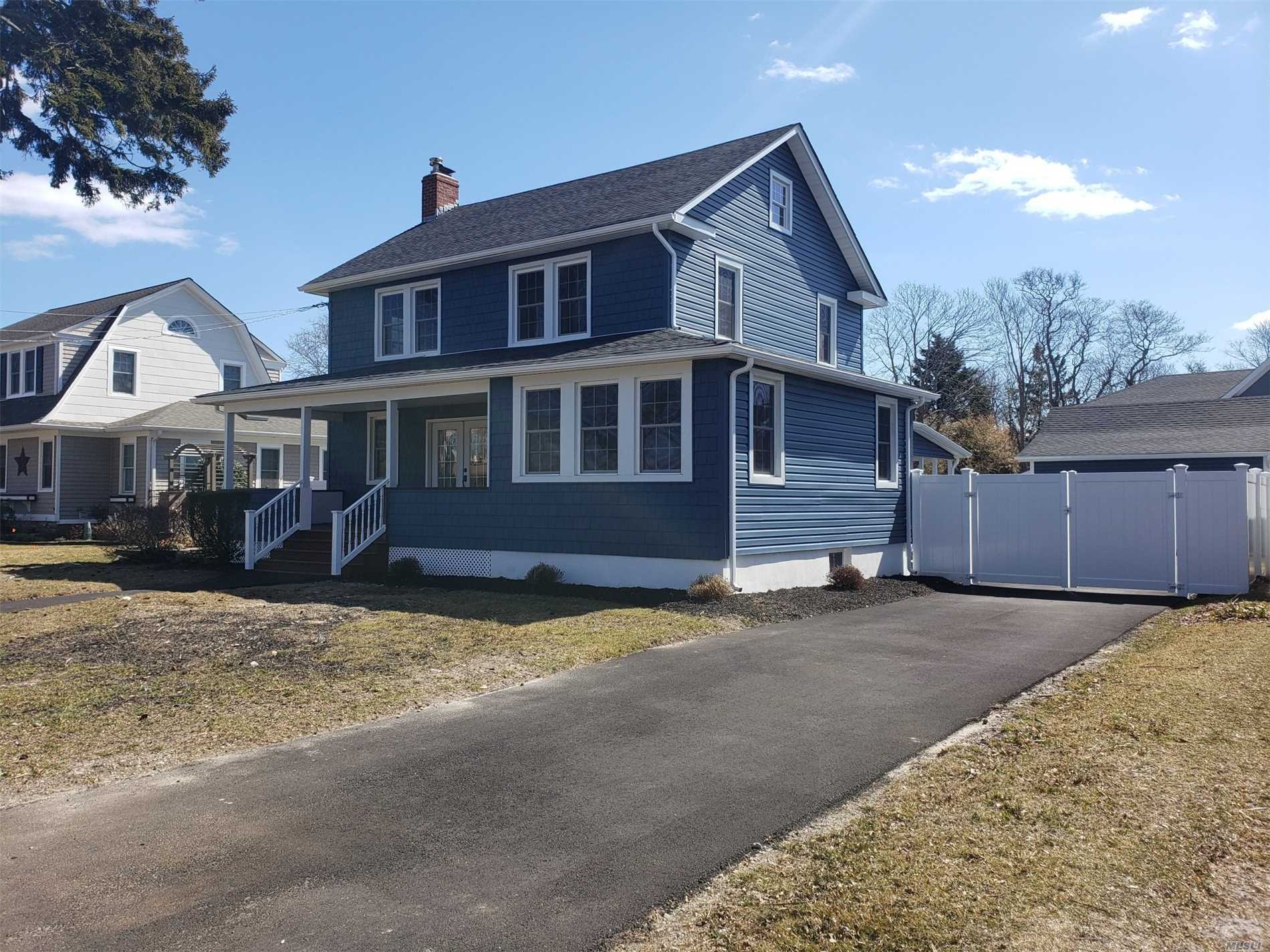 Beautiful restored colonial south of montauk in a well desired school district. Featuring all new kitchen, baths, hardwood floors, cac, windows, roof and 2 car garage. Kitchen has white farm sink and quartz countertop with an oversized pantry. Laundry room on first floor with mudroom and a covered porch to enjoy your backyard. Welcome Home!