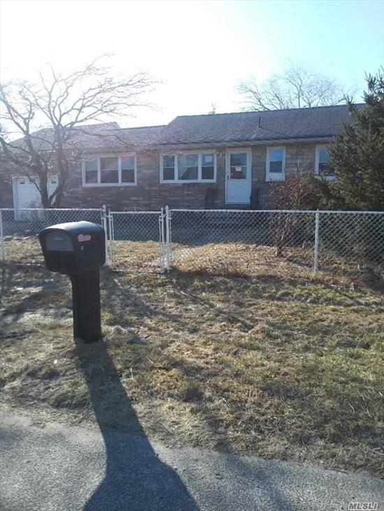 6 Room Ranch located in Shirley Beach !!!!  .. ..6 rooms 3 bedrooms, 1.5 bath rooms, Basement , Garage and on large property ! Needs updating and Tlc ....This is a great opportunity for a homeowner and excellent for a 203k !!!