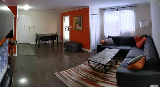 Spacious fully renovated one bedroom, one bathroom Condo At Barclay Gardens.  - Brand new kitchen including appliances, cabinets, countertop, backsplash. - New washer and dryer inside laundry closet. - A LOT of storage space - 2 single closets and 3 doubles, in addition to Laundry Closet. - New birch hard wood flooring throughout living room and bedroom, new porcelain tiles in kitchen and bathroom, crown molding, marble window sills. - Apartment is sold FULLY FURNISHED. - LOW maintenance
