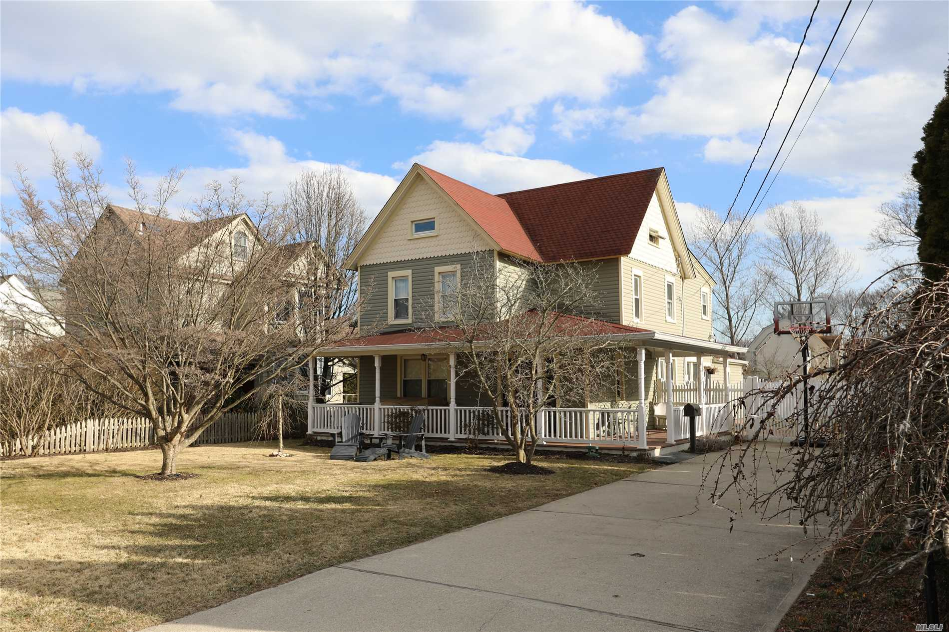 Beautiful South Sayville Locale! Charm Galore Throughout This 19th Century Victorian Home Located On Quiet Dead End St. Updates Include, brand new SS applicances (fridge, oven, dishwasher, microwave) Roof, Heating System, Electric, Windows, Front Porch, Kitchen, Septic, Fence And More. Eat-In- Kitchen W/ Island Is The Gathering Place Of The Home Opens To Family Rm W/ Sliders To Paver Patio and 18x36 Heated In-ground Pool. Pristine Master Bath & Guest Baths. Don't Miss!