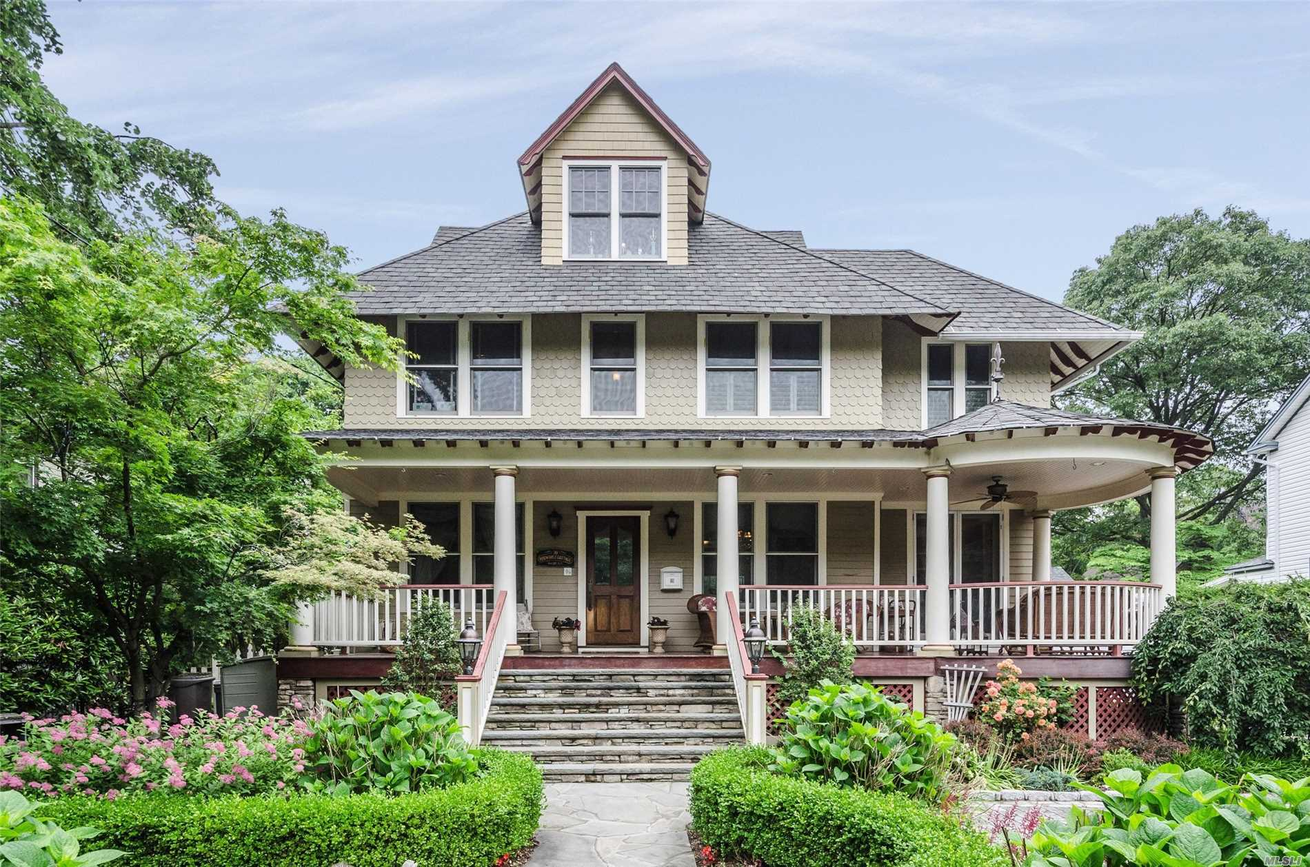 Finally a Sea Cliff Victorian that has been updated with lovely sized rooms, plenty of storage, beautiful details such as decorative moldings, cove plaster ceilings, stain glass windows, master bath w/claw foot tub, cooks kitchen with refrigerator drawers and outdoors you will find a PIZZA oven, a PIRATE SHIP and a CHARGING STATION for 2 electric cars! Hang out on Periwinkle Cottage's wrap around porch and enjoy Sea Cliff living!! Located a few blocks from the Village center, parks & school!