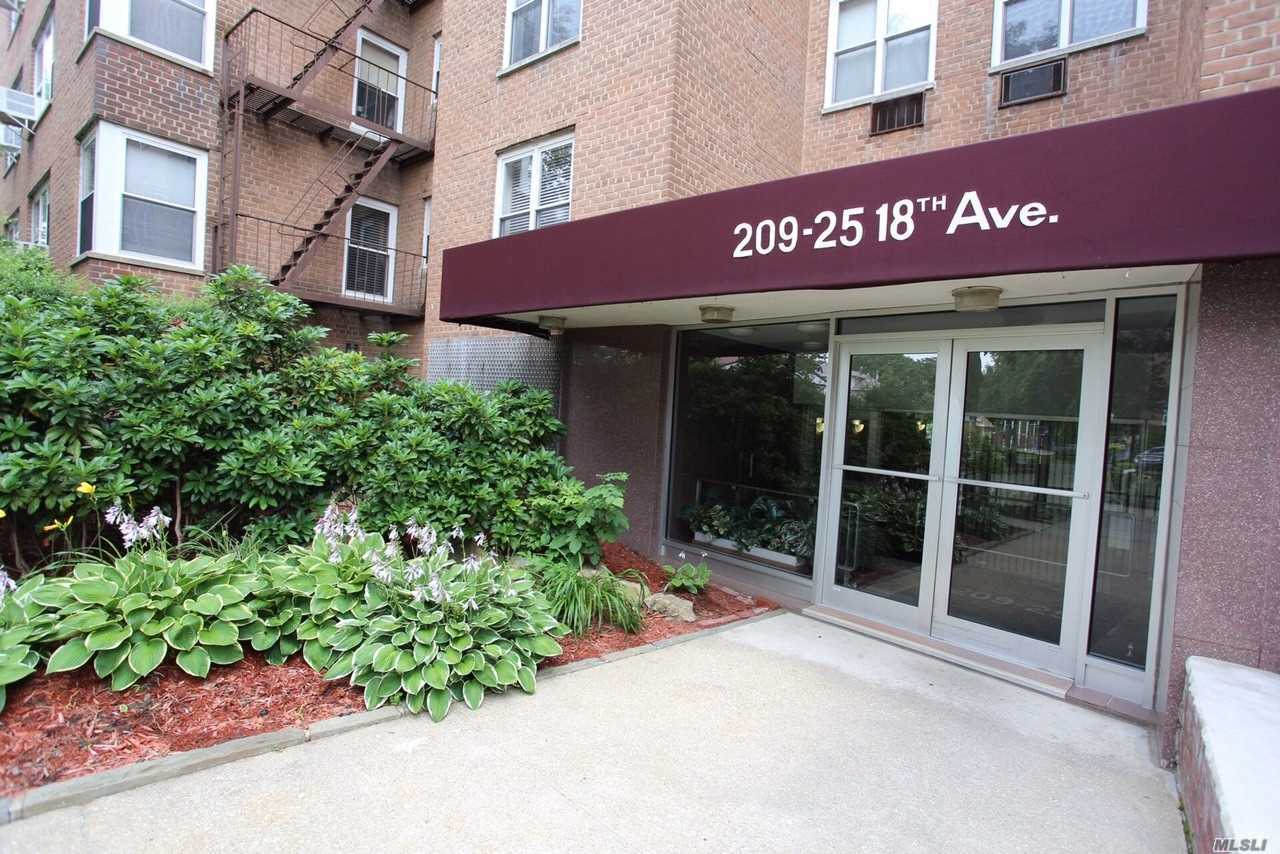 Large 1 Bed 1 Bath Apartment With Plenty Of Closets. Dining Room Converted to Den. Walk To Bay Terrace Shopping Center, Library, Bay Terrace Pool Club (Not Part Of Coop), Elementary/Middle School, Express Bus, Bus To Flushing & LiRR. Maintenance Listed Includes 1 Air Conditioner, Dishwasher, Taxes, Gas & Electric. Buyer Will Get 1 Parking Space For $20/Month