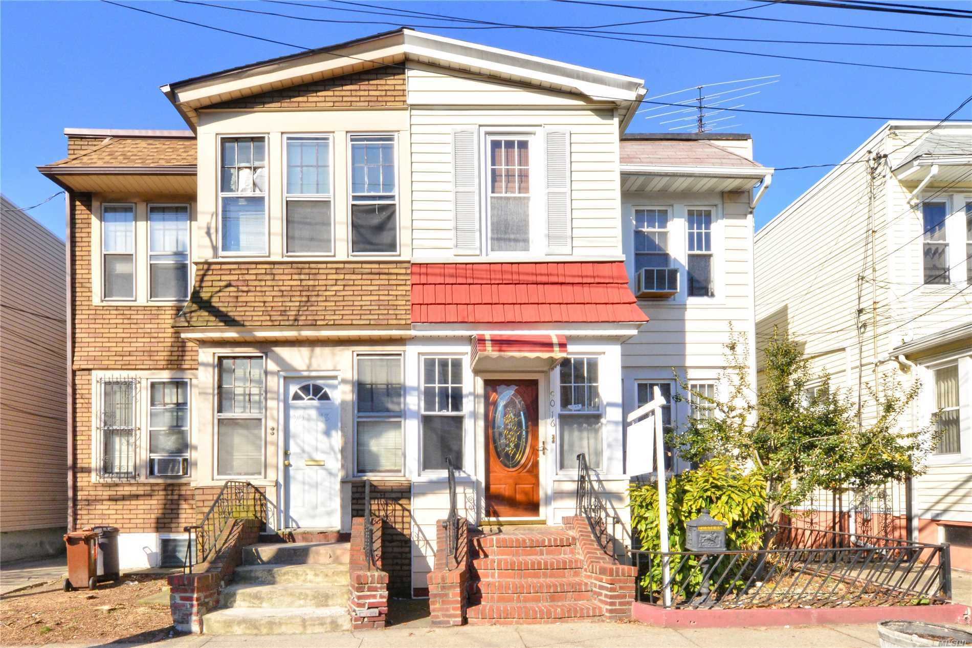 Great opportunity to be a landlord and live off your tenants income. Charming Semi Detached 2-Family - Located On A Quiet Tree-Lined Street. Convenient To All Shopping, Subway & Houses Of Worship. Call today for full details.
