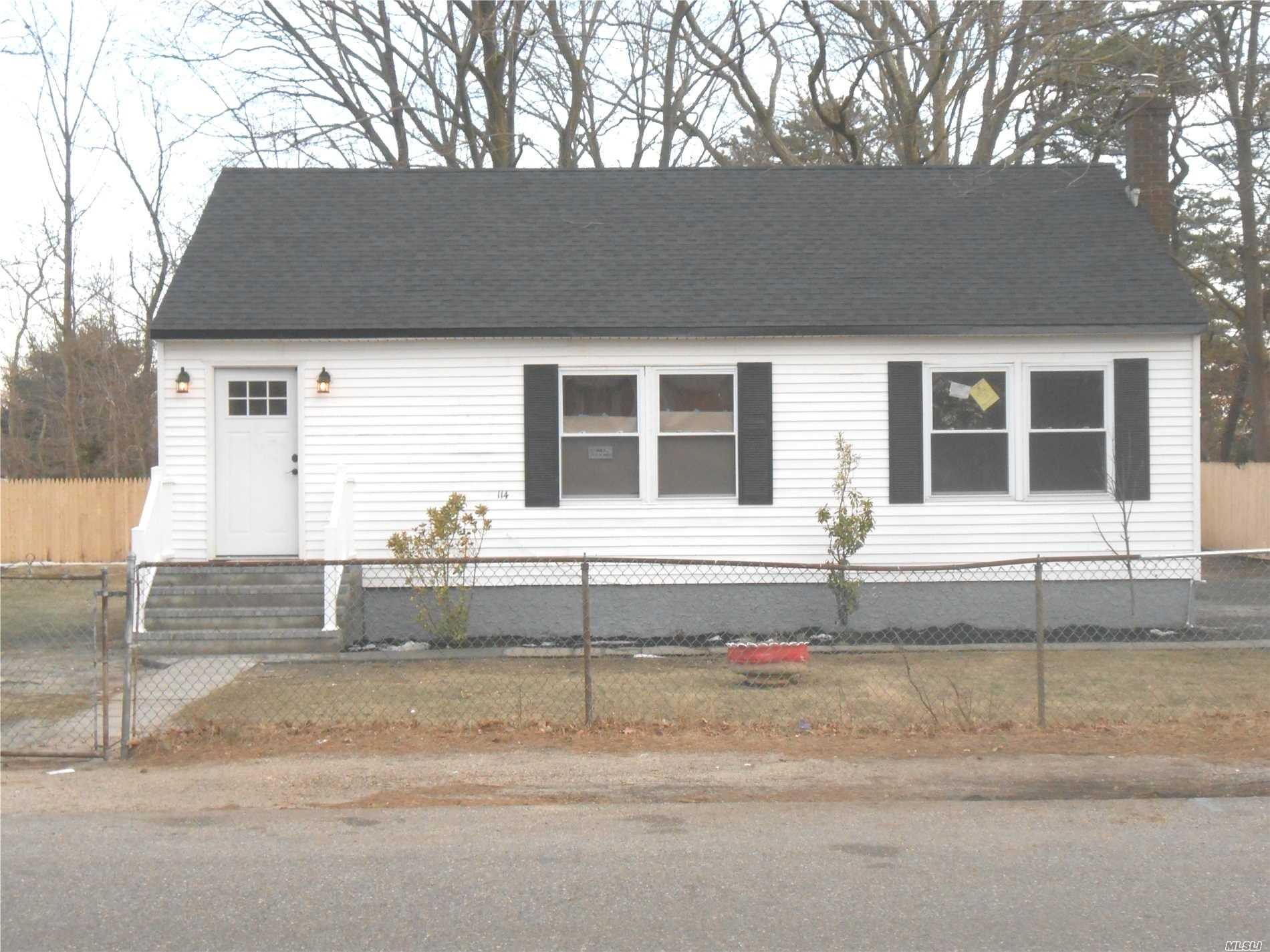 Completely Renovated Ranch With New Siding, New Windows, New Kitchen, New Roof, New Bathroom, New Electrical & Plumbing Throughout House, 100x100 Lot Size, Fenced Yard-Low, Low Taxes. Perfect for 1st time Home buyer.