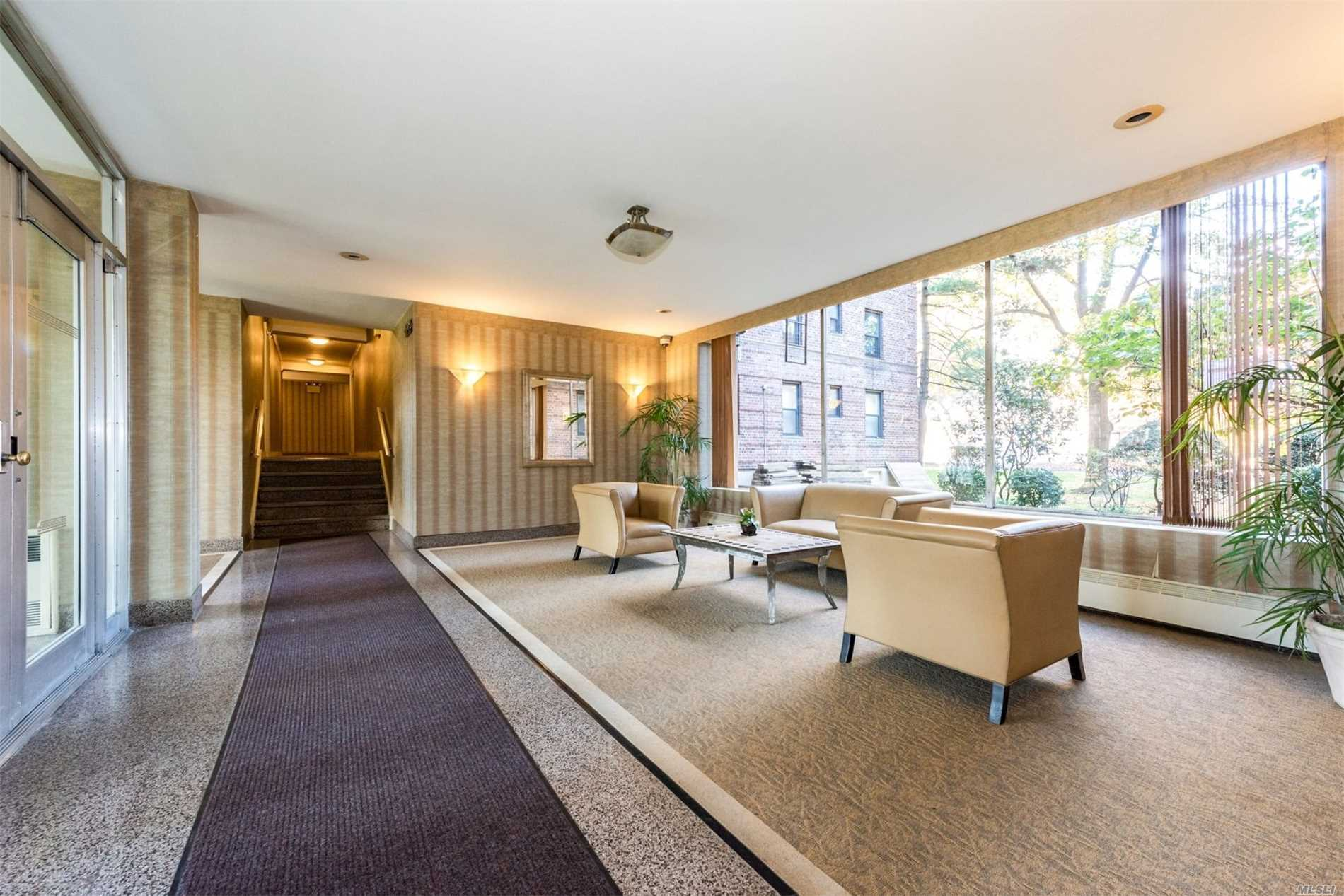 Welcome!!! to this Beautiful Apartment featuring 2 Huge Bedrooms, 1 full Bath, plenty spacious closets.Pool Club Access, 24Hr Laundry, Bike room and Storage. Include Individual Parking Spot, Grand Central Pkwy. Close to Mayor transportation, (45 minutes to Manhattan Express Bus)/ Q88/Q27 to Flushing.busy shopping centers and parks.  Zoned for Ps 188 Kingsbury, and MUCH MORE !!! DON'T MISS OUT !!