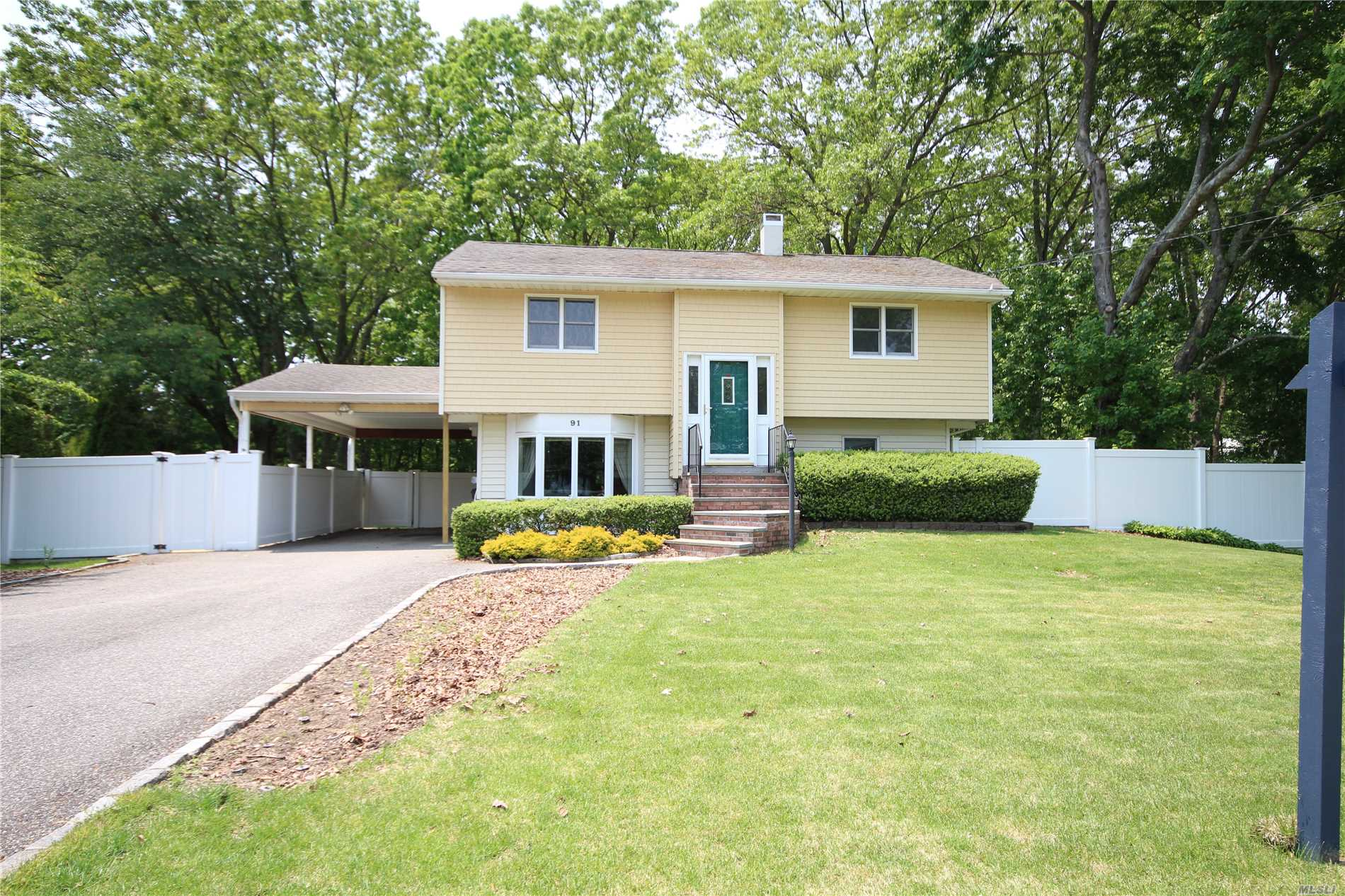 Beautiful Hi-Ranch in Three Village Schools! , New 100 Amp Electric, Freshly Painted, Updated roof, Siding, heating, 3 Nice Sized Bedrooms(1 with a full Bathroom), 1Add'l Full Bathroom, Eat-in Kitchen, Family Room, Wonderful Back yard with multi-level decking, great for entertainin! Fabulous location near Golf, Bear Ln Park, shopping, Stony Brook University, restaurants, & so much more!Solar Panels on Roof are not included