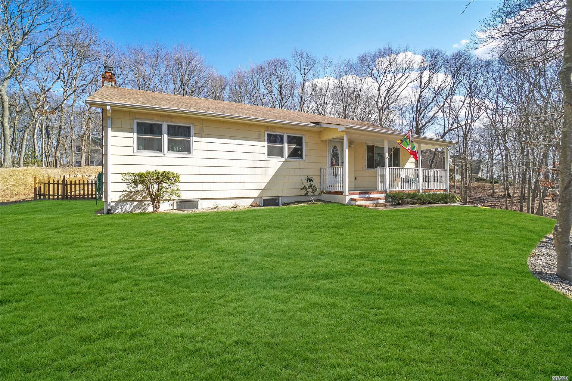 Secluded Ranch On A Shy Acre IN PRIVATE, N. Wading River Location-HARDWOOD FLOORS THROUGHOUT-BRAND NEW GRANITE/MAPLE/S.S KITCHEN AND FRONT LOAD WASHER-2018 BELGIUM BLOCK DRIVEWAY-2017 NEW SEPTIC SYSTEM AND HOUSE INTERIOR PAINTED-2016 EXTENDED BACKYARD-NEW HEATING SYSTEM 2014-NEW WINDOWS 2008-2006 ROOF-200 Amp ELECTRIC-Finished Basement W/Full Bath & OUTSIDE AND INSIDE ENTRANCES-PRIVATE SERENE SETTING