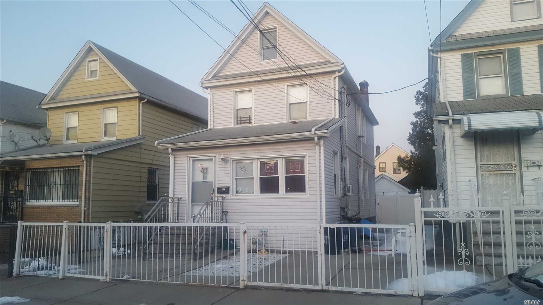 Charming Two Family Colonial In Queens Village. Great Investment Property For First Time Buyers. This Home Features Three Bedrooms, Two Full Baths, A Full Finished Basement, Additional Room In Attic, Private Driveway, New Siding, New Windows and Fencing Around The Property, Each apartment pays for their own Heat and A/C. It Is In Move In Condition!