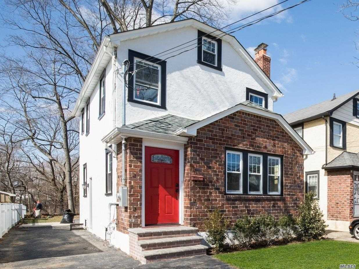 Located on a quaint West-end block in the Village of Floral Park, this totally renovated turn key home has it all! HGTV style Colonial with open floor concept, hardwood floors and new eng. eff. windows throughout. Beautifully designed NEW kitchen with brand new stainless steel appliances, open to DR/LR space with charming woodburning fireplace. 2nd floor features 3 BR's and updated beautiful full bath. Enjoy country living while perfect for entertaining in this oversized, park like backyard.