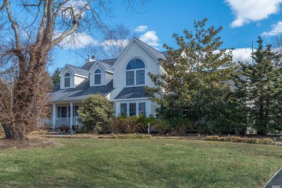 Wonderful Colonial with inviting front porch set on .84 acre of beautifully landscaped property at the end of a cul de sac. Spacious and bright eat in kitchen with open concept family room and mud room. Great master with en suite bathroom leading to large office space above the garage. Move in condition, CAC, Harborfields SD#6.