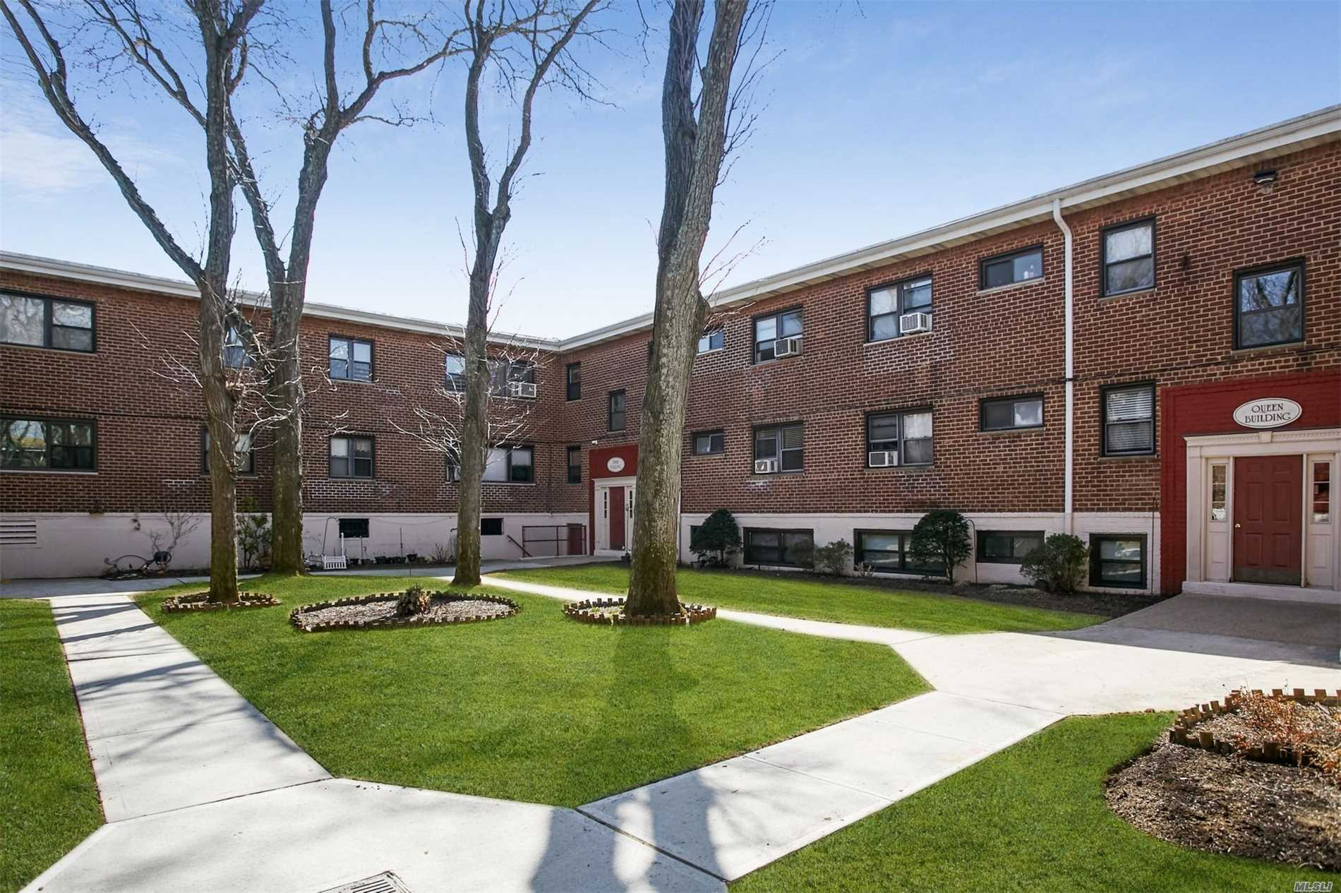 Beautifully Maintained Flowerview Coop, Cozy Court in front of Queen Bldg Unit 2E, take stairs to Second Floor, Unit is right, enter into generous foyer with double coat closet, EIK w/ Updated Cabinetry, custom tile, seats 4, Large Bright Livingroom, Master Bedroom, Second Bedroom, Updated Full Bathroom, Wall of Closets in hall, Washer Dryer on Premises.