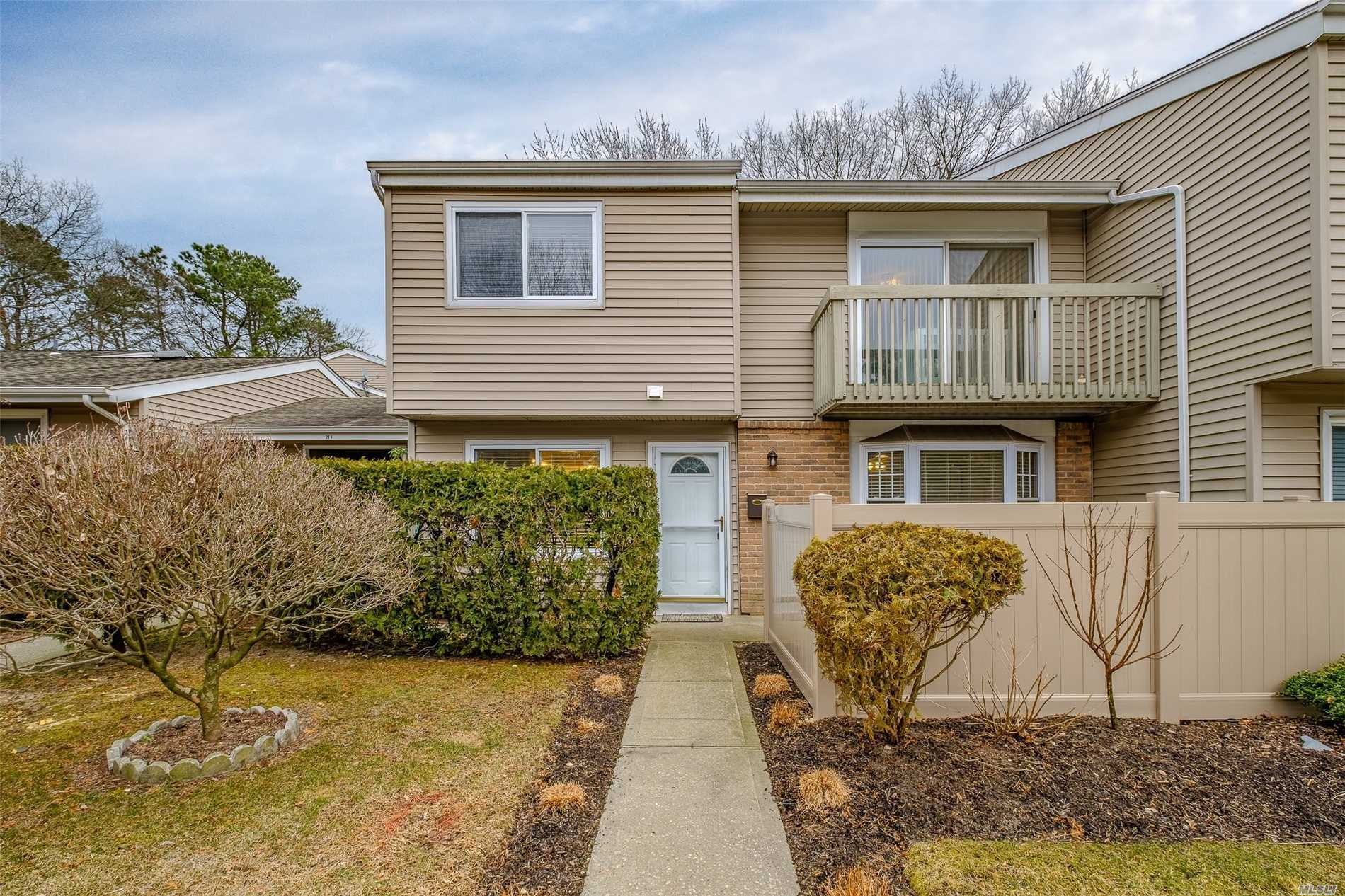 Move in Ready! Immaculate & Beautifully Updated 2 Bedroom Corner Townhouse In A Desirable Location in Sachem School District. Perfectly Located Directly Across The Street To Pool & Playground. Enjoy All The Amenities, Clubhouse, Pool, Tennis, Basketball & Playground. Close To All Major Highways. New Fence Assessment for fence, $23.40 per month ends in March 2020. Common charges include water & basic cable.